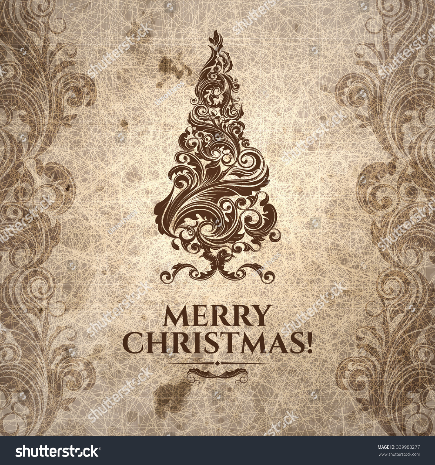 Grange Scratched Oldlooking Christmas Card On Stock Vector 339988277    Shutterstock