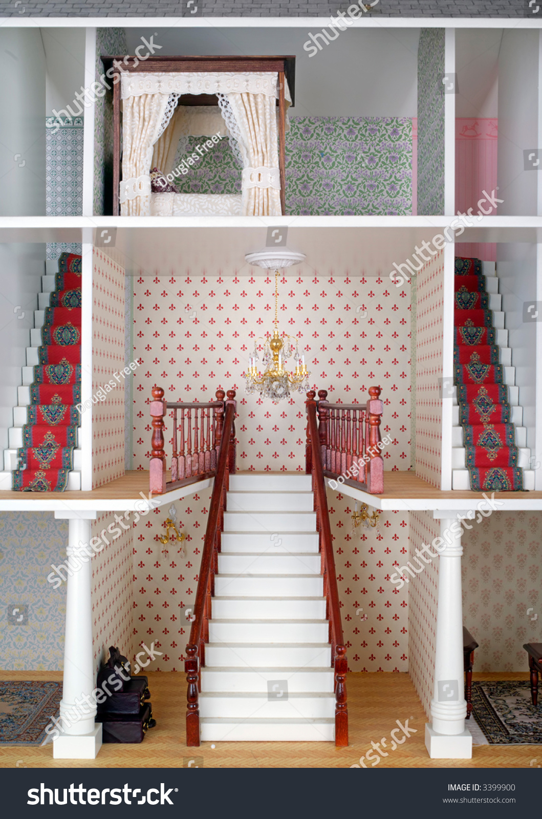 Miniature World Adult Dolls House Staircase Stock Photo - Dolls house interior