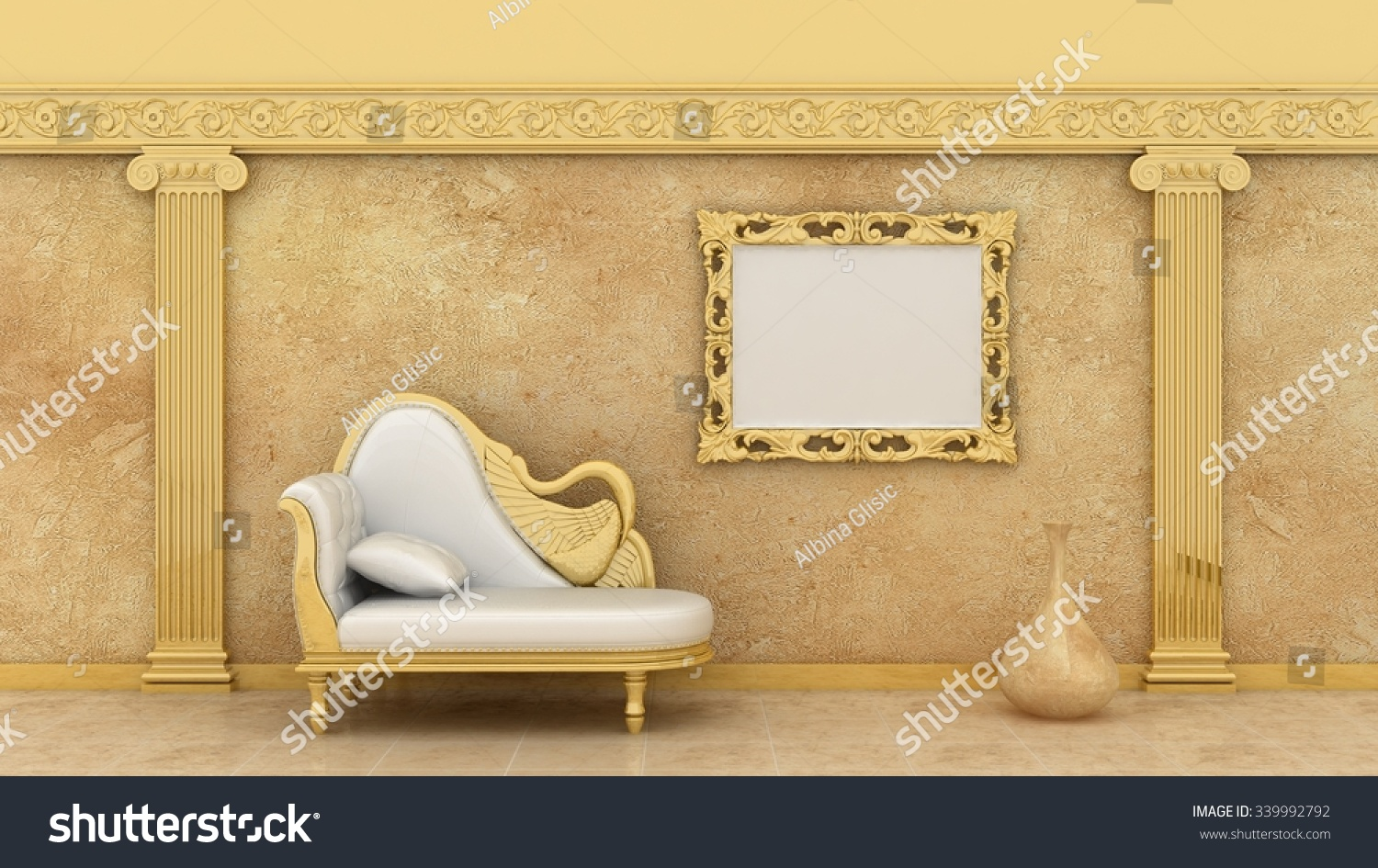 Empty Picture Golden Frames Luxury Interior Stock Illustration ...