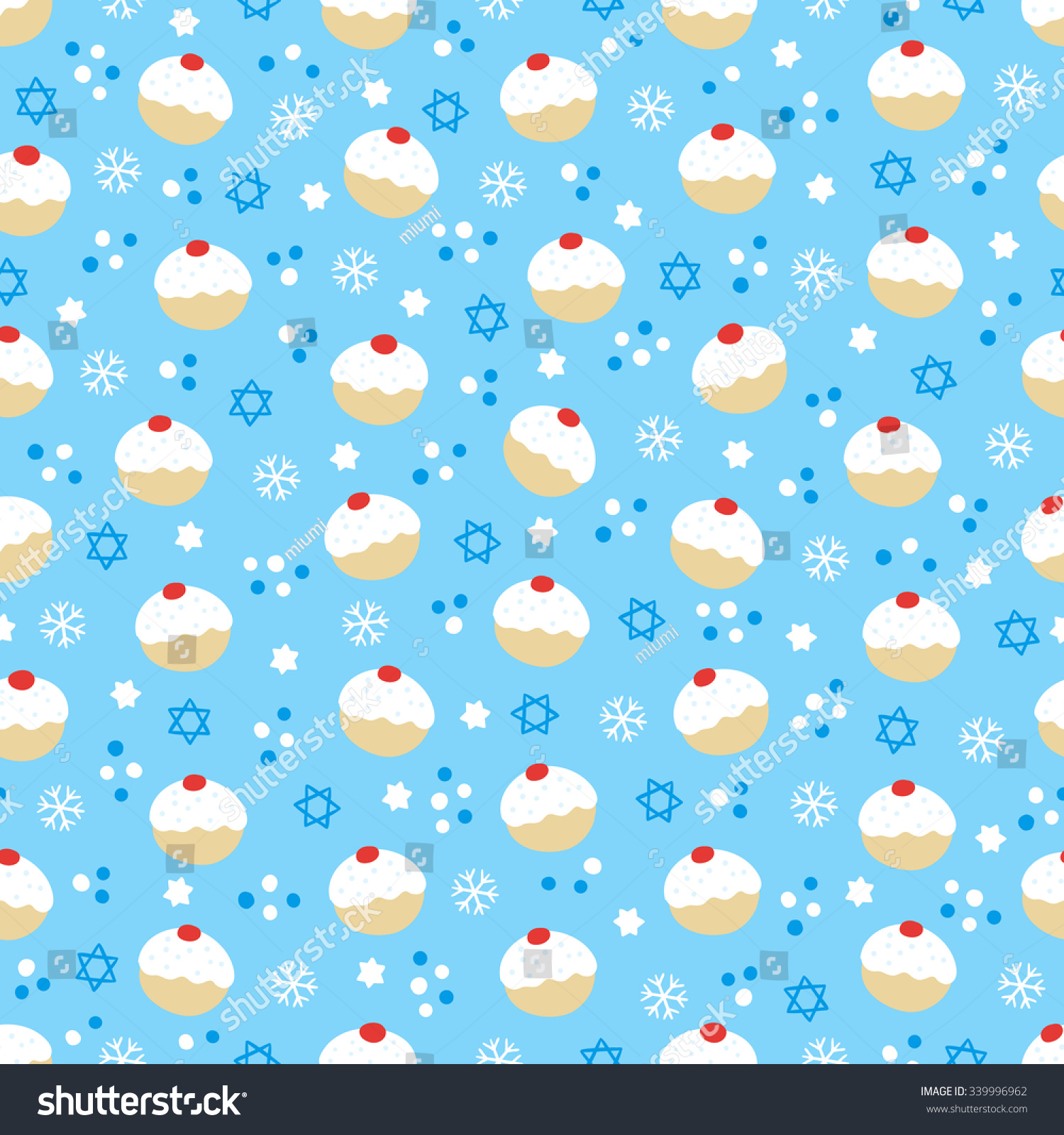 Hanukkah Seamless Pattern With Donuts Snowflakes Ans Jewish Star On Blue Background Perfect For