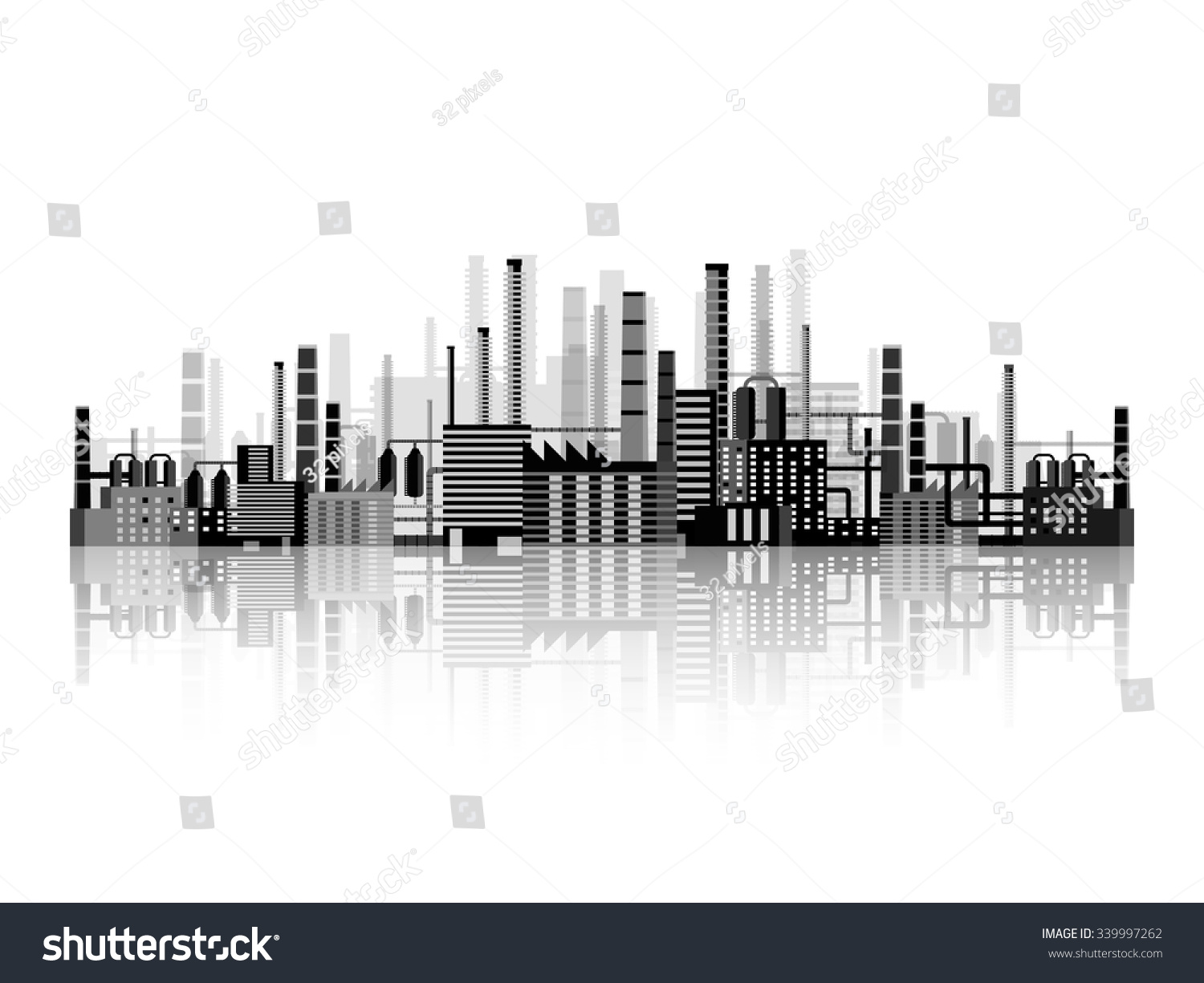 Vector Illustration Industry Power Plant Factory Stock Oil Diagram Industrial Silhouettes Engineering Construction