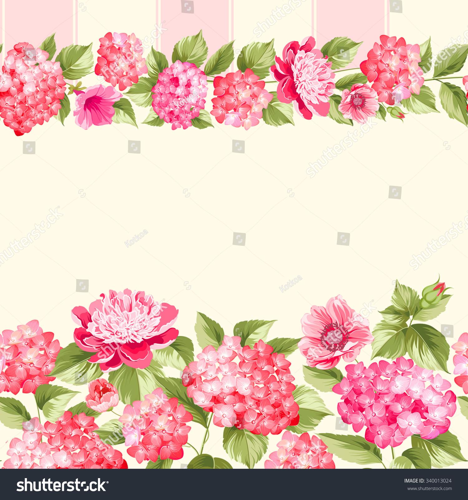 Pink Flower Border Tile Elegant Vintage Stock Vector ...
