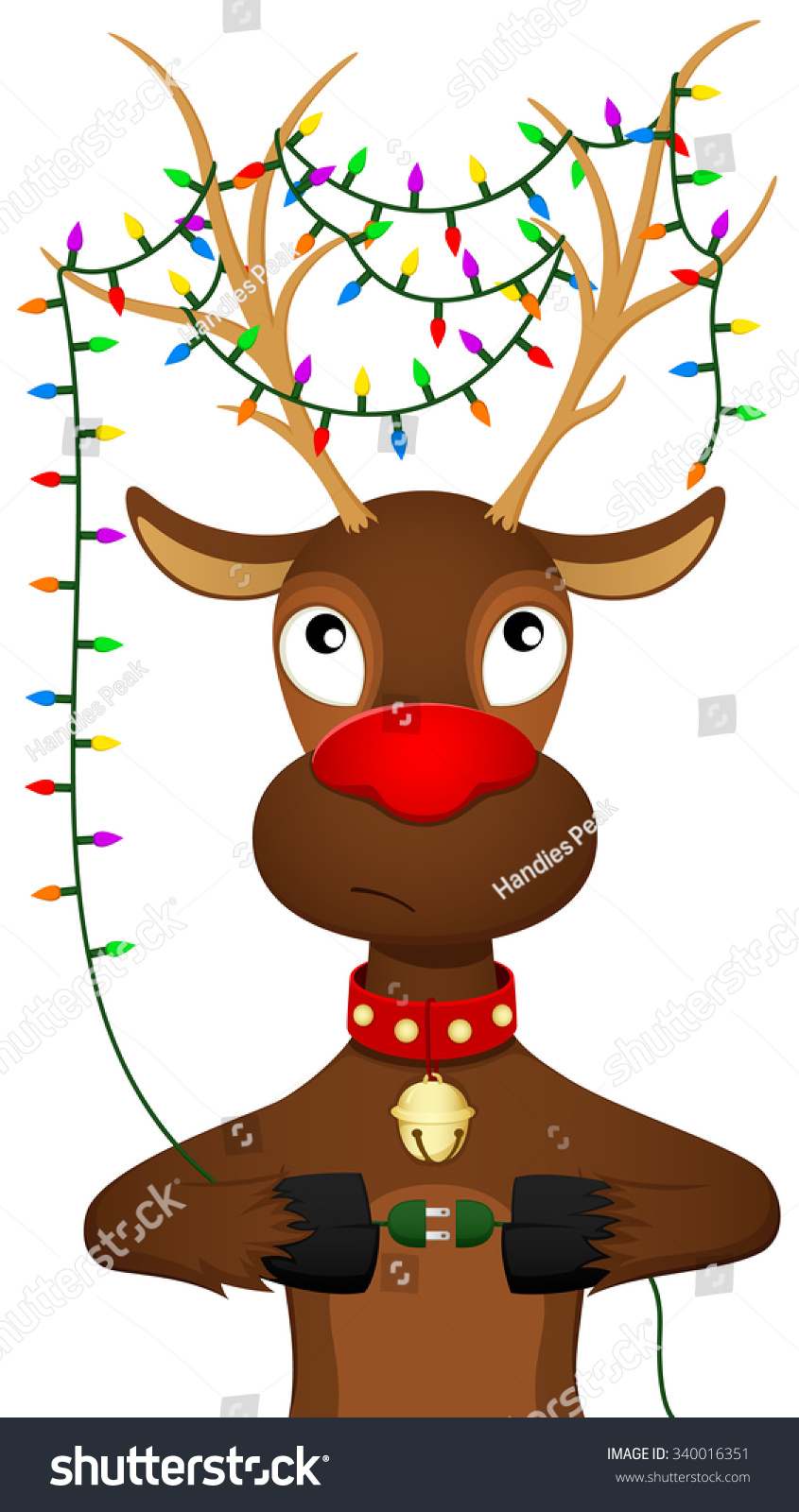 vector illustration cartoon reindeer decorated christmas stock
