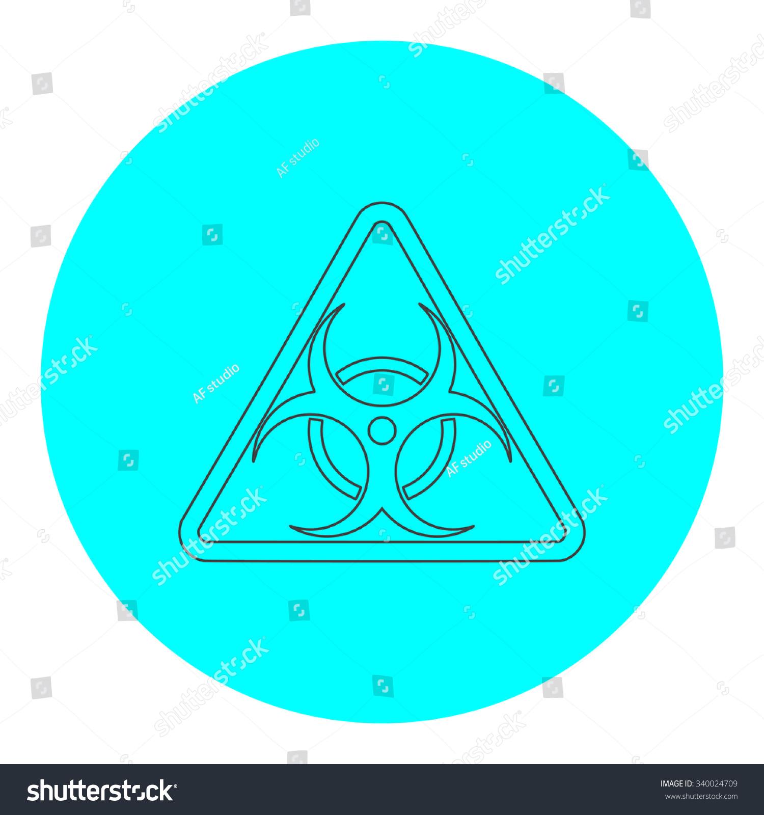 Biohazard Black Outline Flat Symbol On Blue Circle Simple