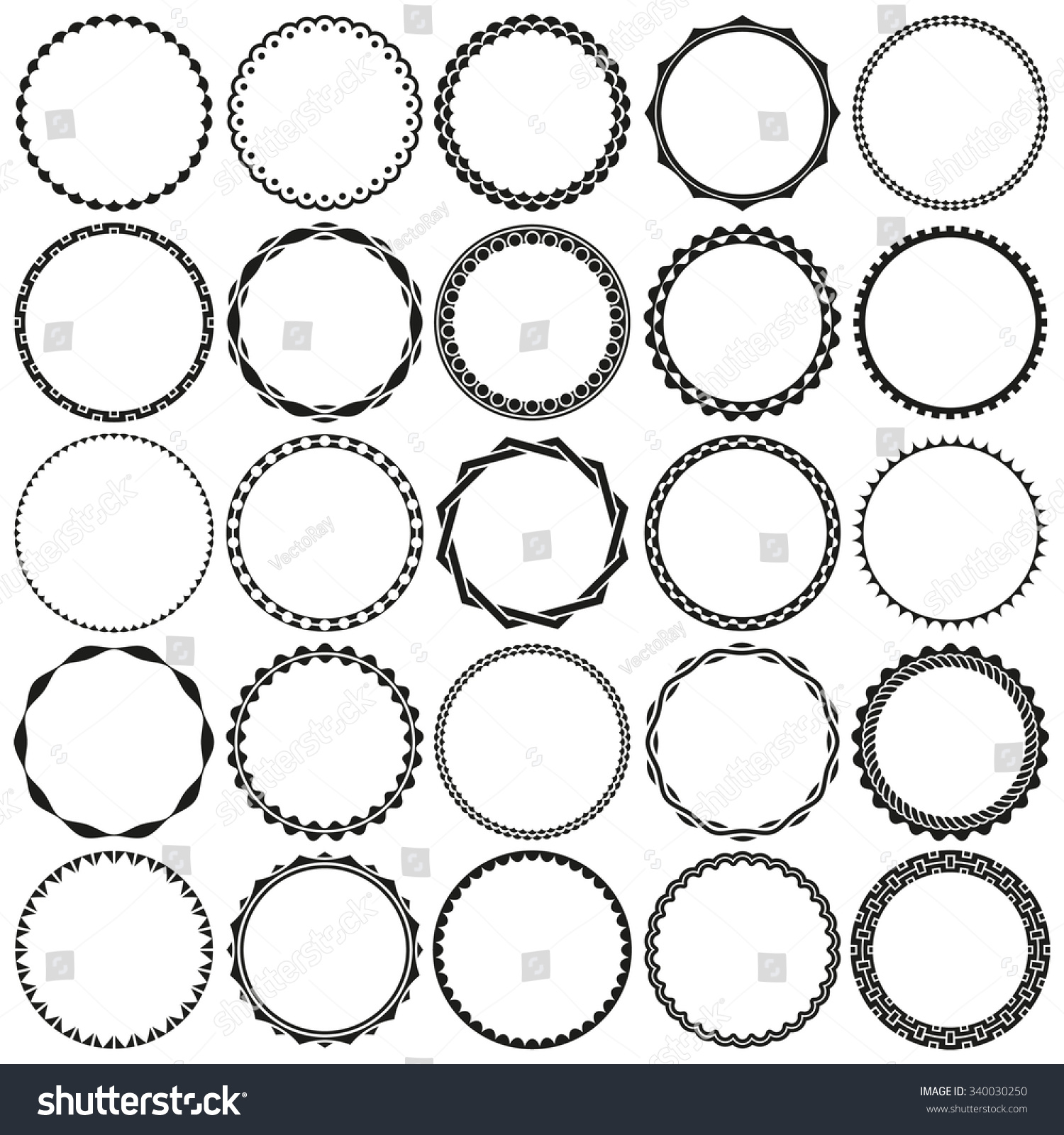 Collection Round Decorative Border Frames Clear Stock Vector 340030250