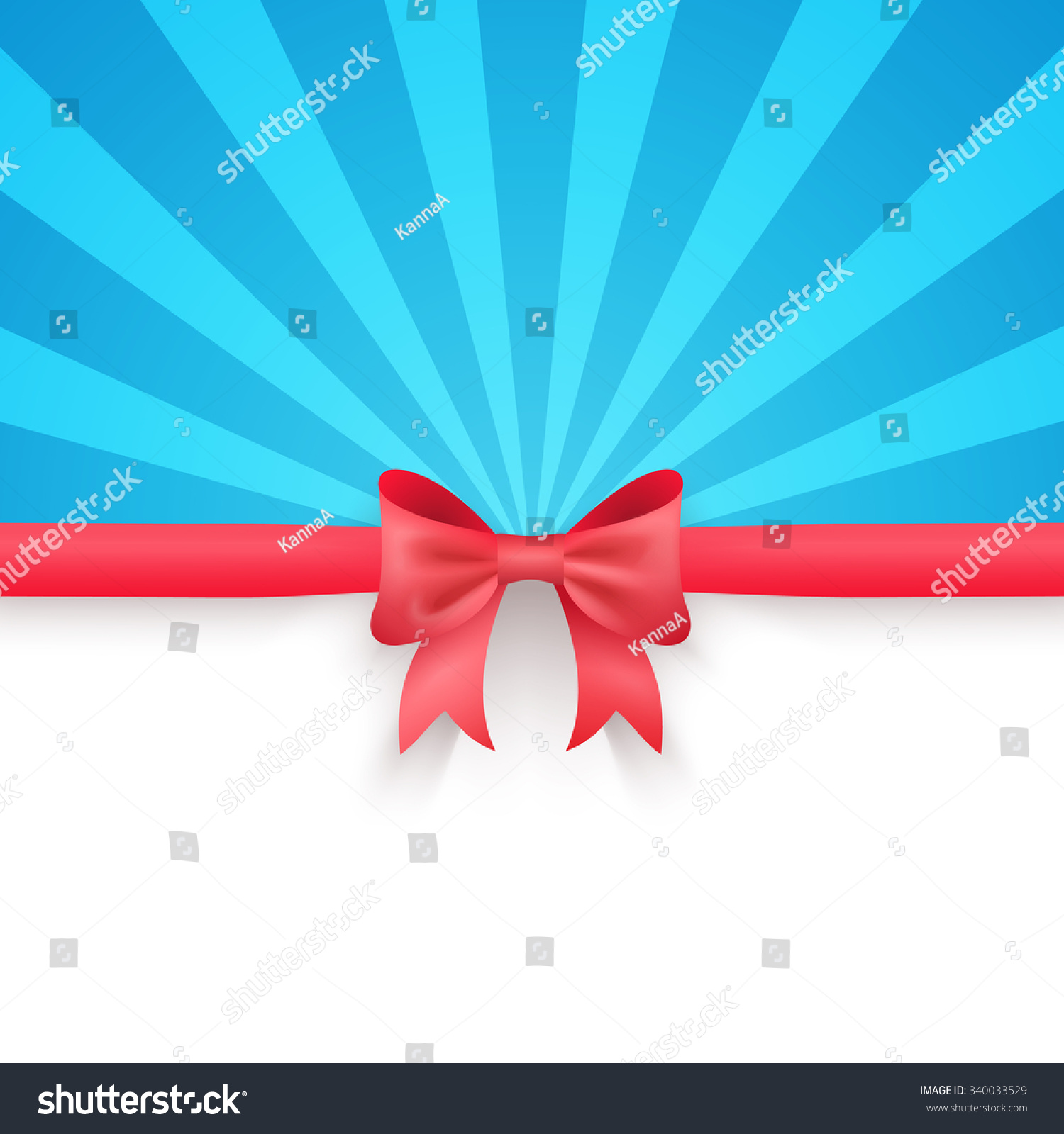 Red gift bows border with clipping path for easy background removing - Winter Blue Beam Background With Cute Red Gift Bow And Ribbon Illustration For Merry Christmas