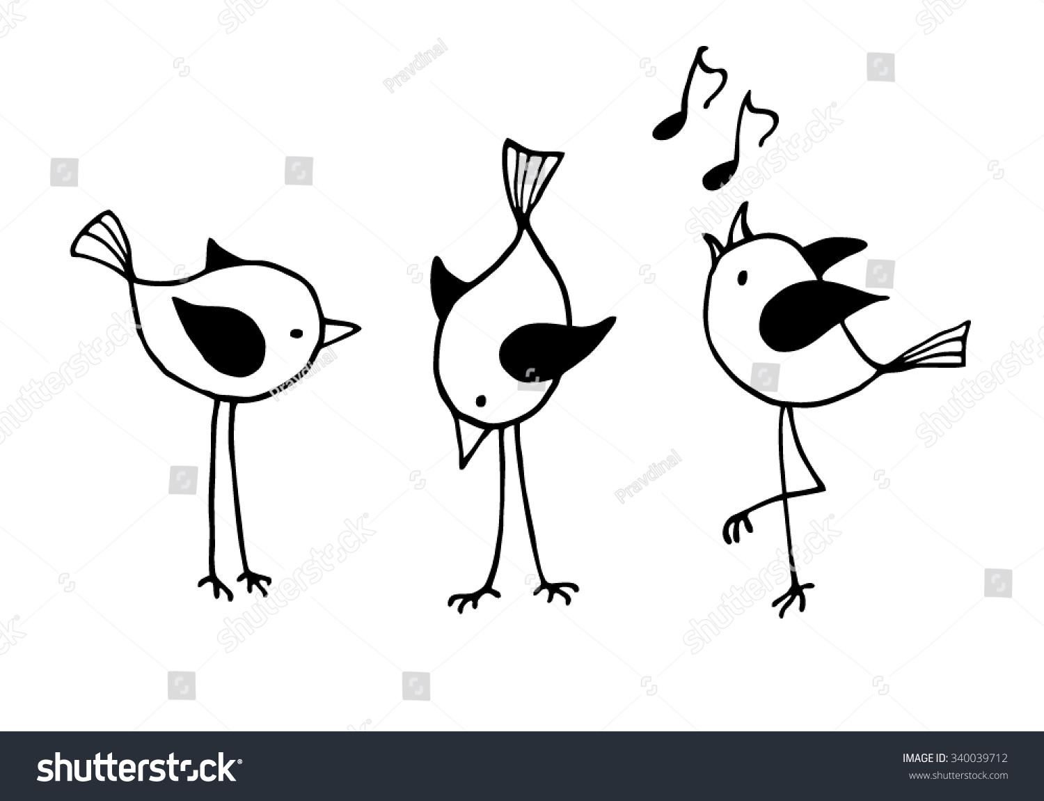 three funny cartoon birds vector black and white