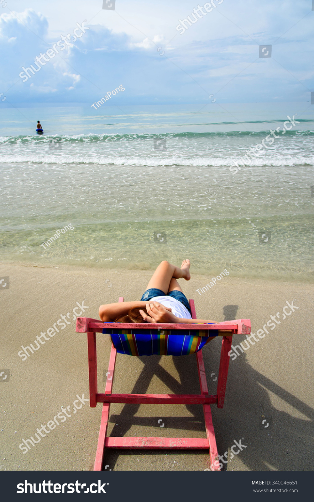 Woman Lays On Pink Beach Chair Stock Photo Edit Now 340046651