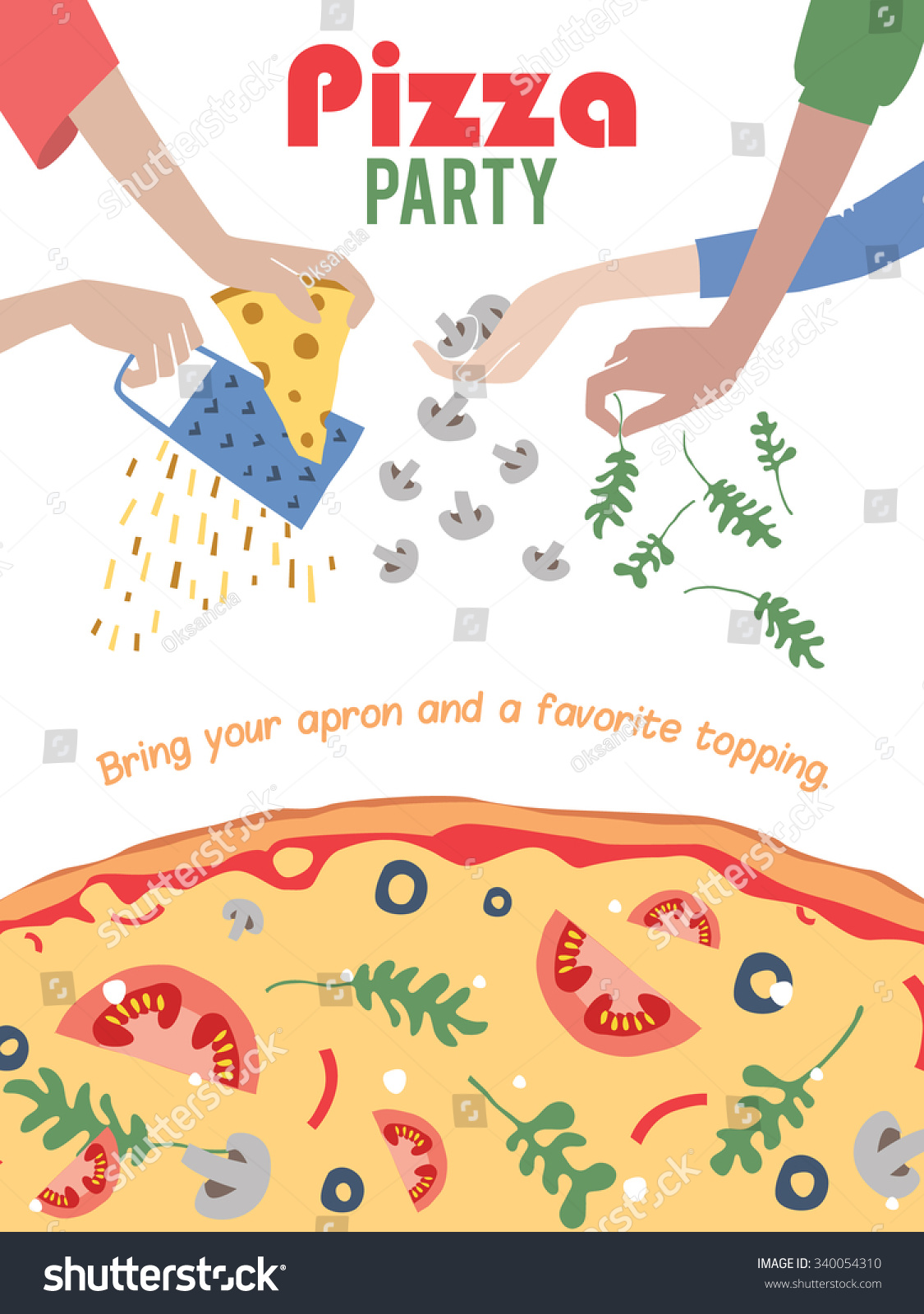 Vector Pizza Party Invitation Poster Flyer Vector 340054310 – Pizza Party Invites