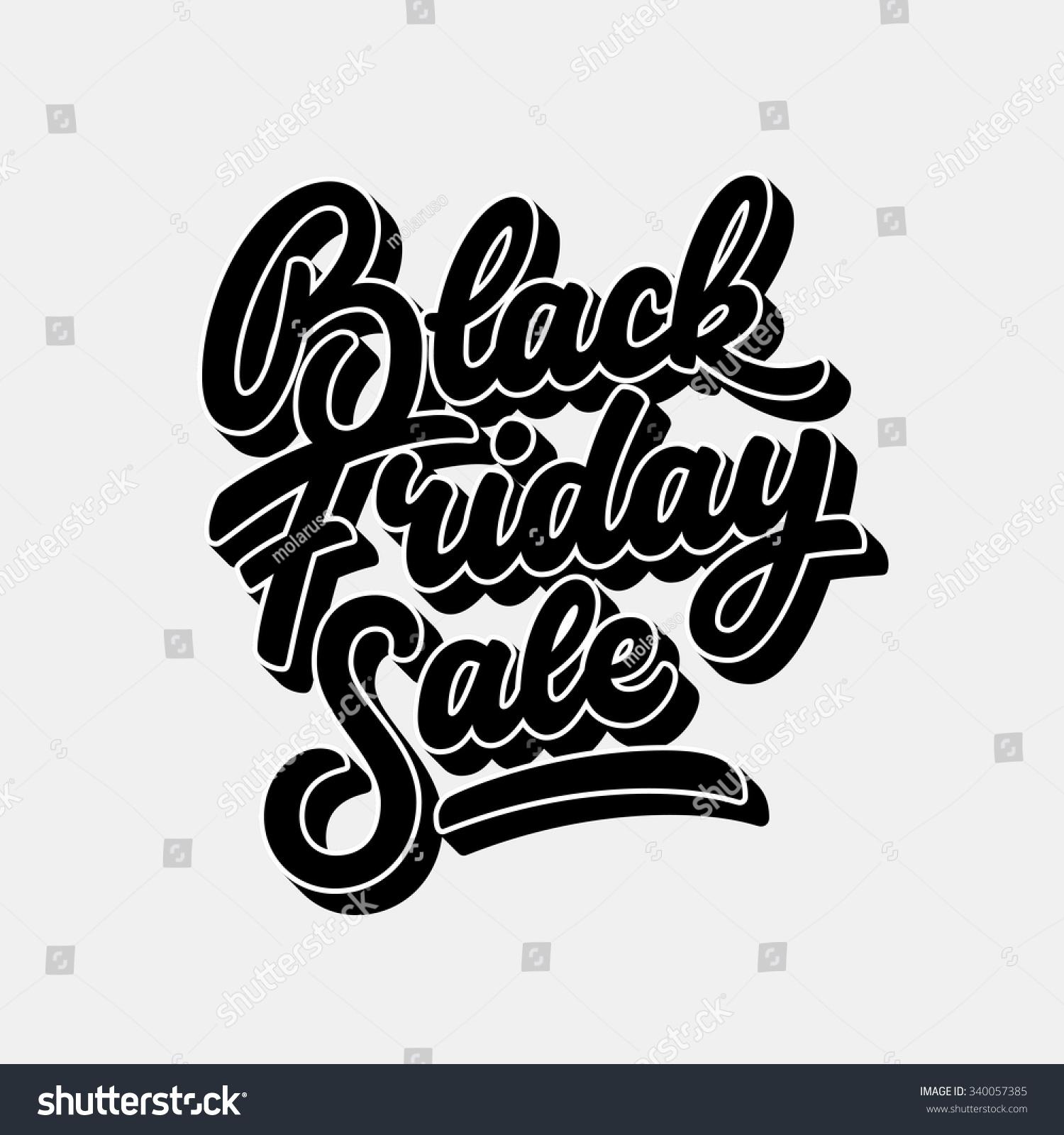 Black Friday Sale Handmade Lettering 3d Stock Vector