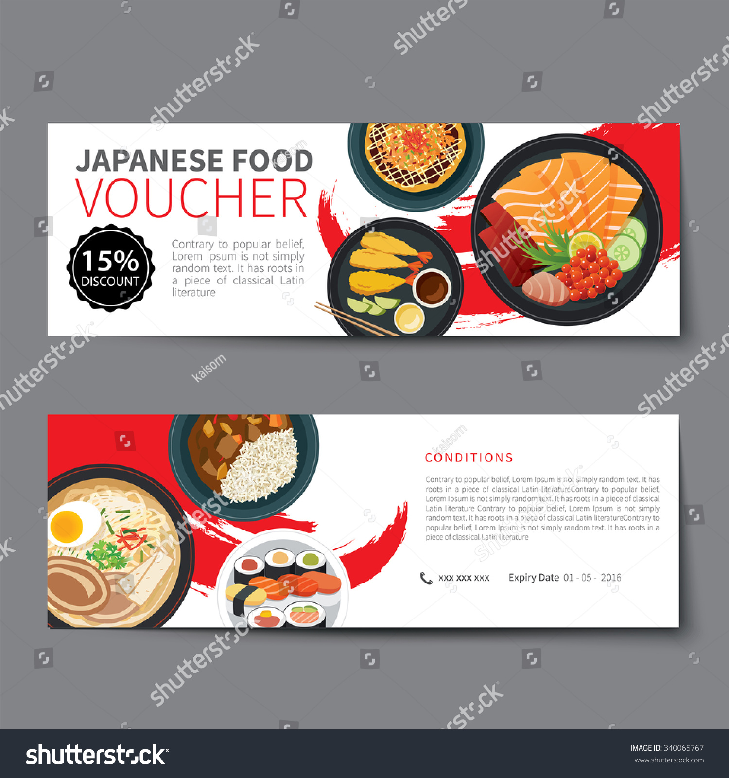 japanese food voucher discount template flat stock vector 340065767 shutterstock. Black Bedroom Furniture Sets. Home Design Ideas