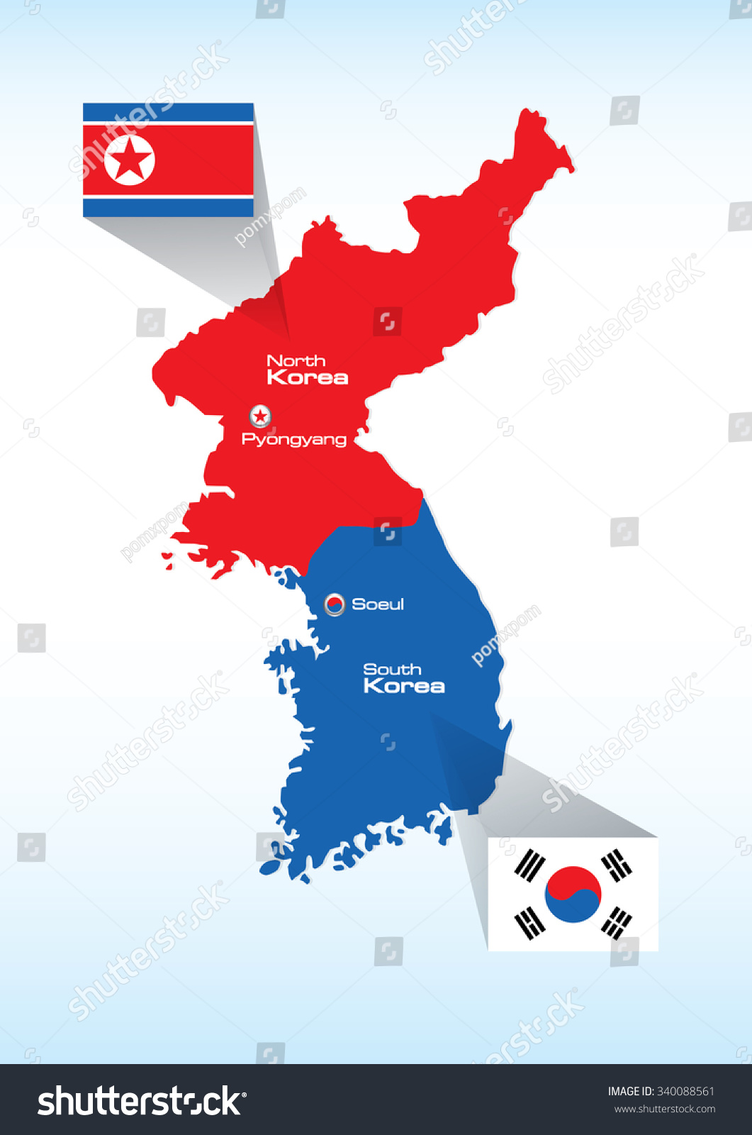 North Korea South Korea Vector Map Stock Vector Royalty Free