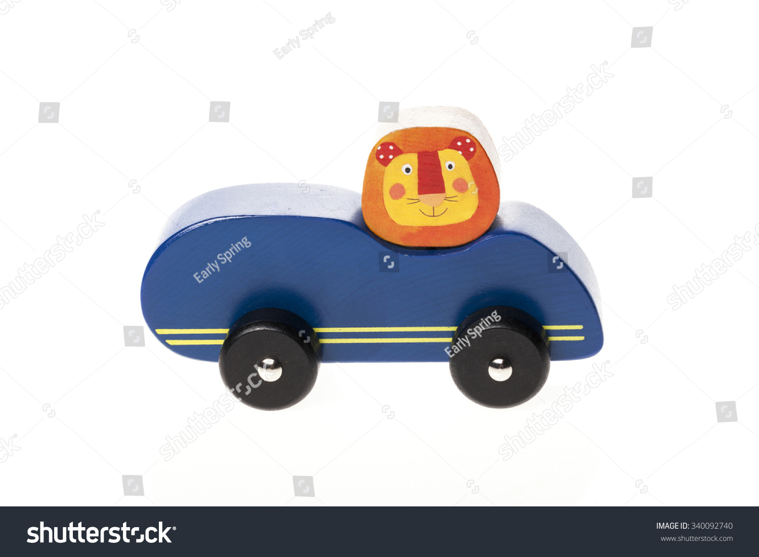 a colorful red blue yellow wooden car with lion for kids baby isolated white stock photo. Black Bedroom Furniture Sets. Home Design Ideas