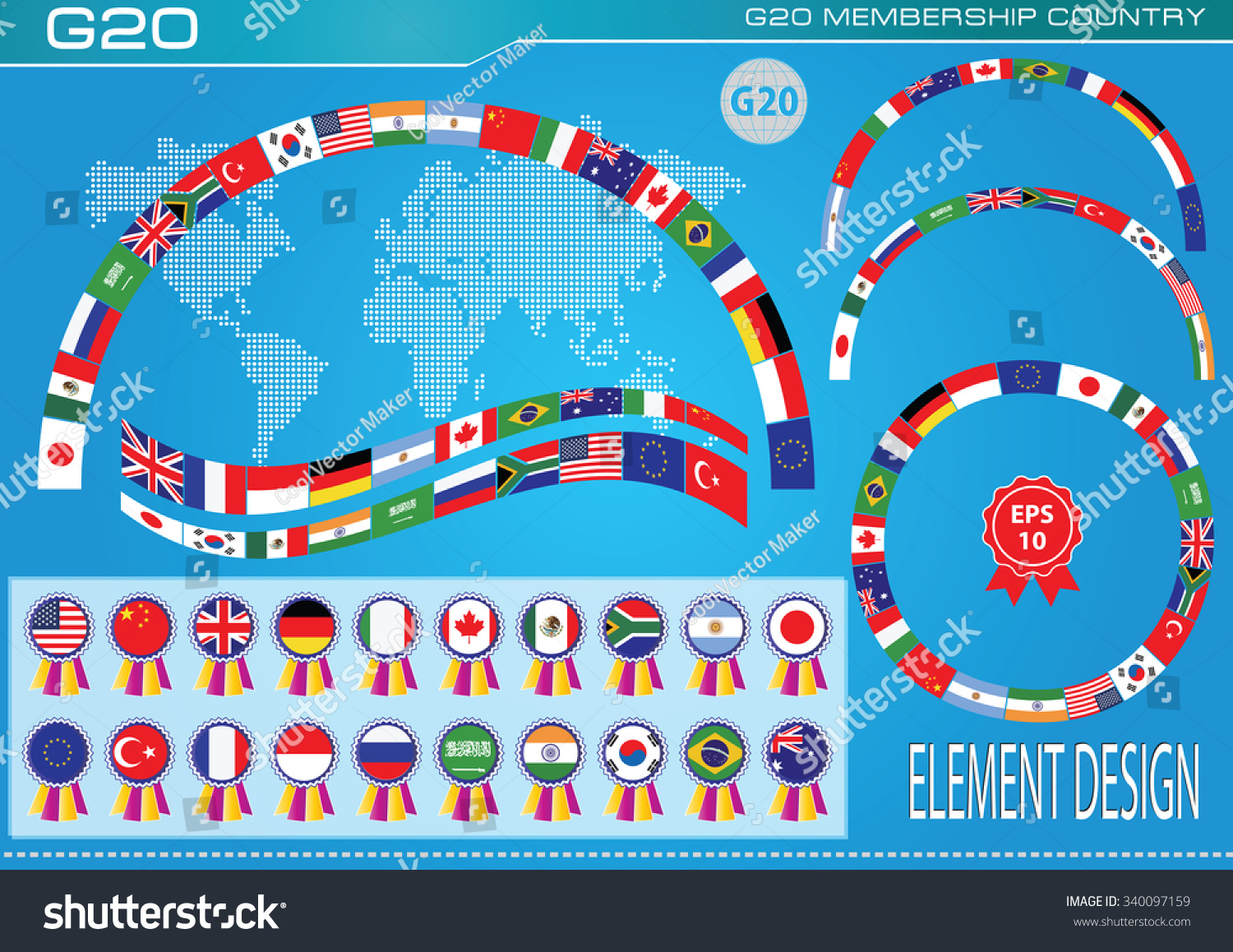 G20 Countries Flags Flags World Economic Stock Vector (Royalty Free