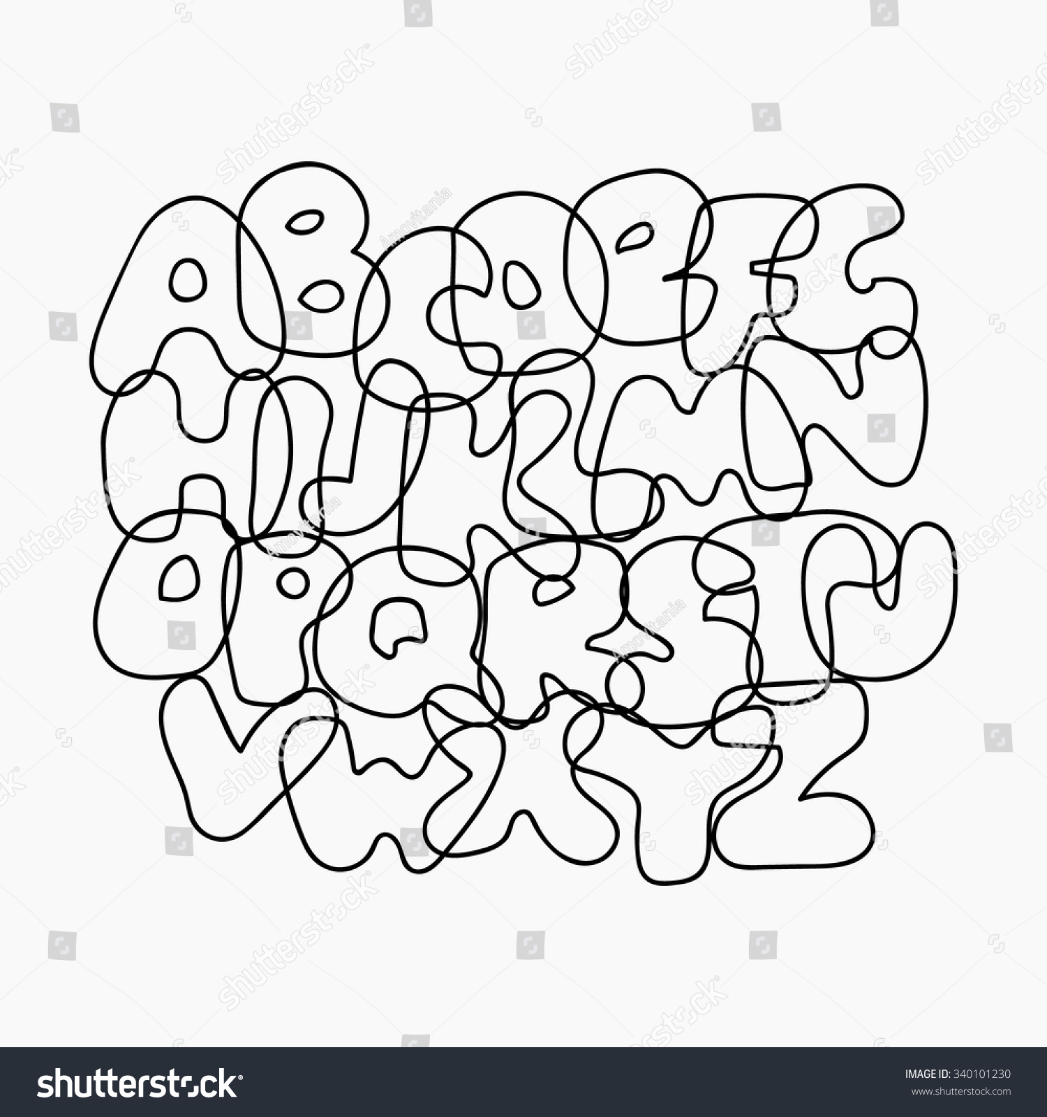 Funny Wire Alphabet Black Outline Letters Stock Vector (Royalty Free ...