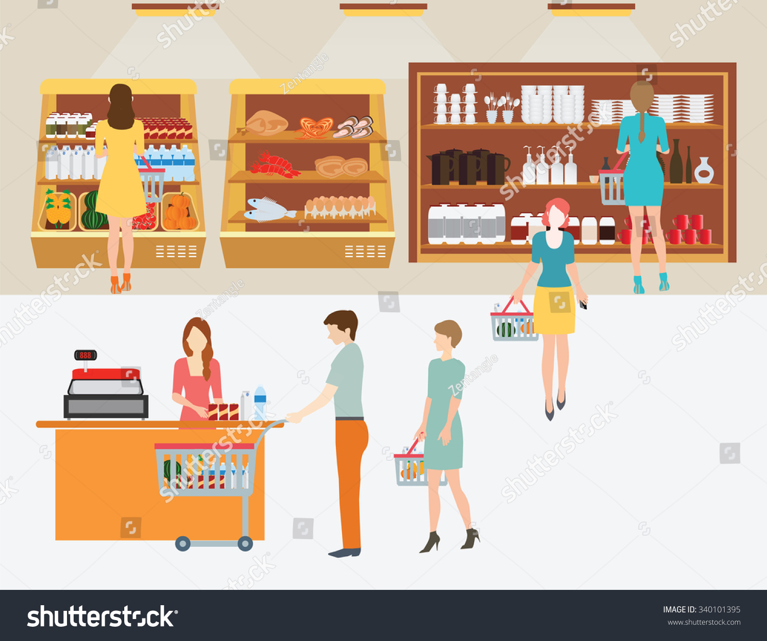 Cartoon Grocery Store Line Up Wiring Diagrams Circuits Gt Led Table Reading Lamp Circuit L35831 Nextgr Royalty Free People In Supermarket 340101395 Stock Rh Avopix Com Bank