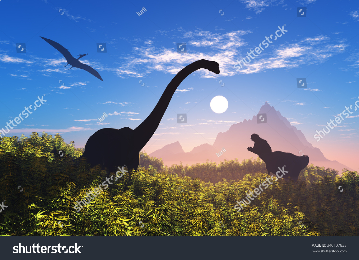 Giant dinosaur in the background of the colorful sky