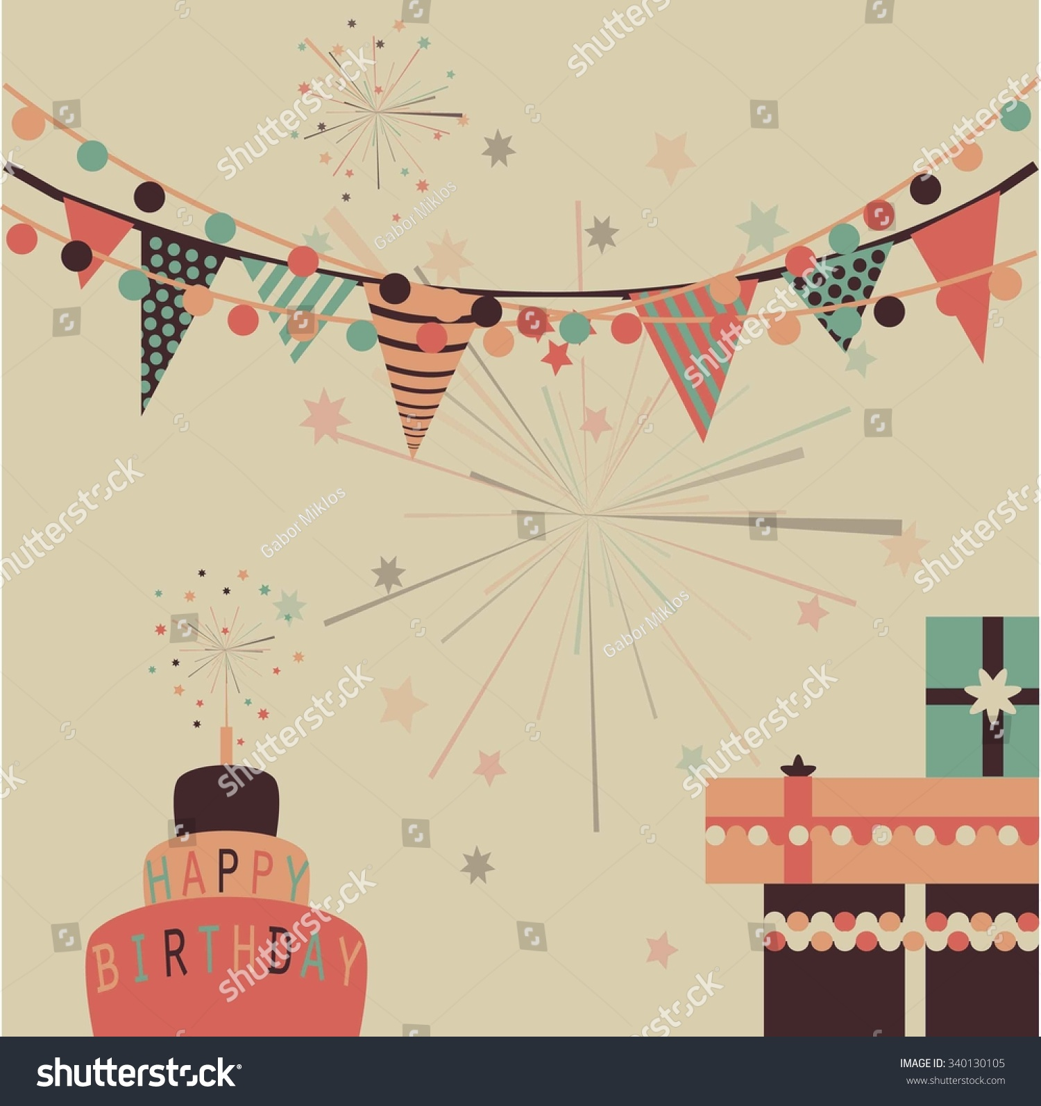Vector bunting flags lovely celebration card with colorful paper - Happy Birthday Vector Background In Pastel Colors With Cake Gifts And Party Flags