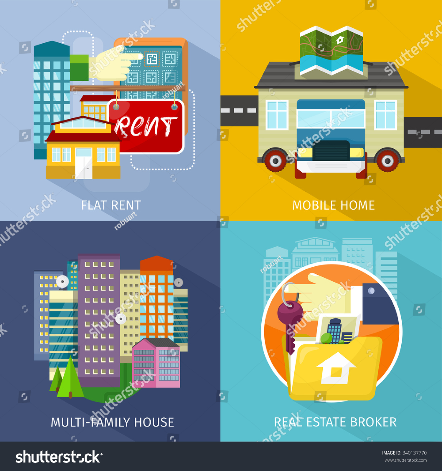 multifamily house mobile home flat rent stock vector 340137770 multi family house mobile home flat rent rental estate broker mobile
