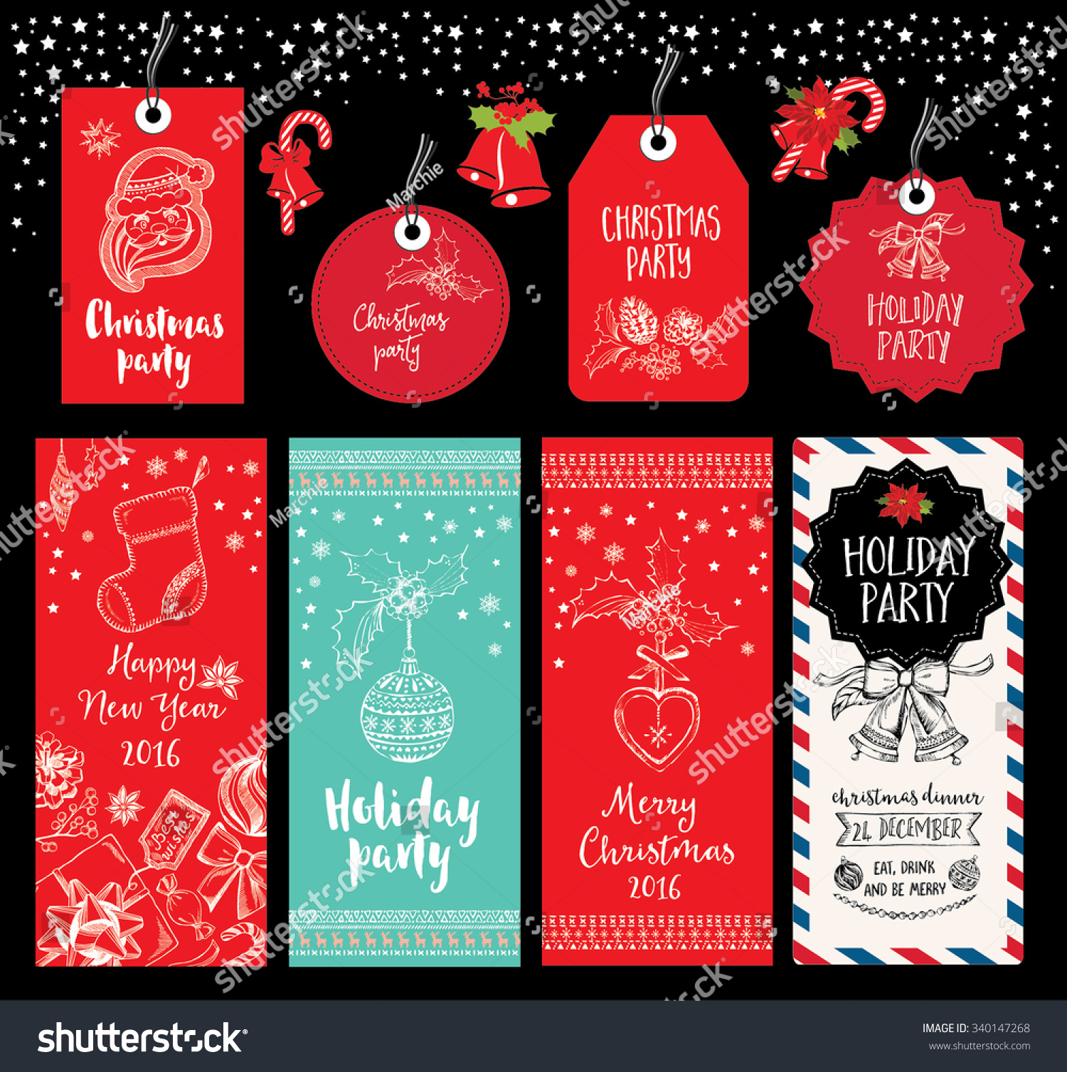 vector christmas party invitation toys holiday stock vector 340147268 shutterstock. Black Bedroom Furniture Sets. Home Design Ideas