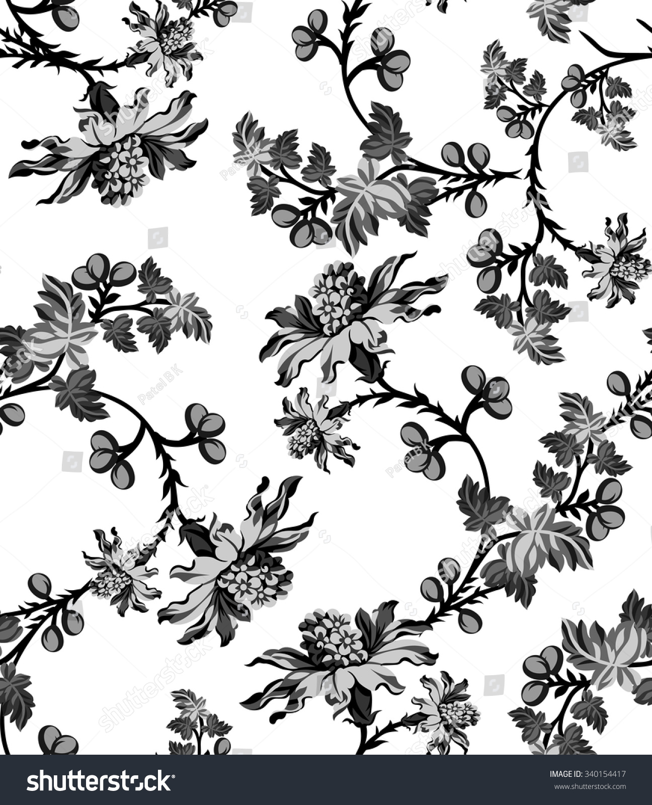 Black White Floral Wallpaper Pattern Stock Vector 340154417