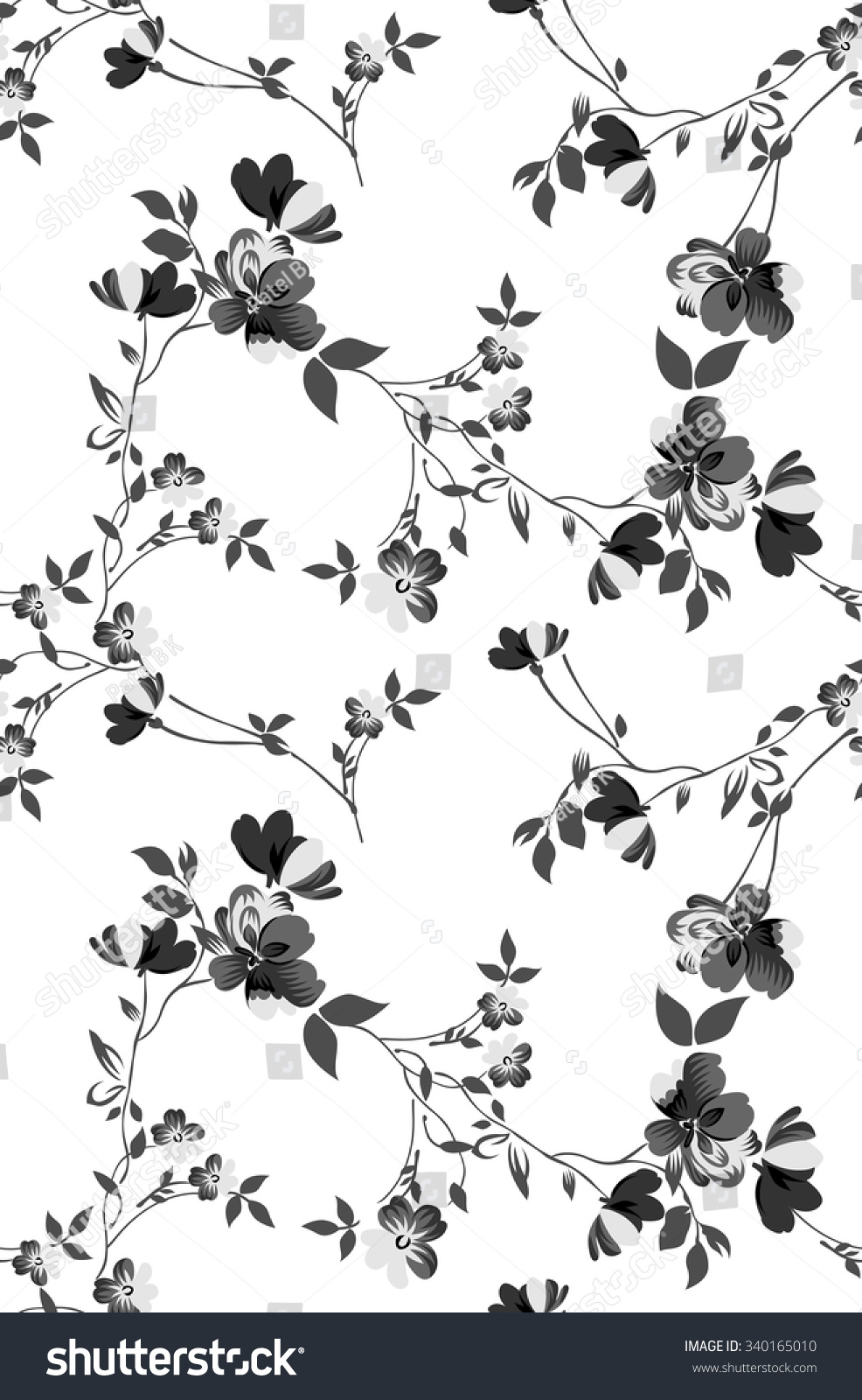 Seamless Black White Flower Wallpaper Pattern Stock Vector Royalty