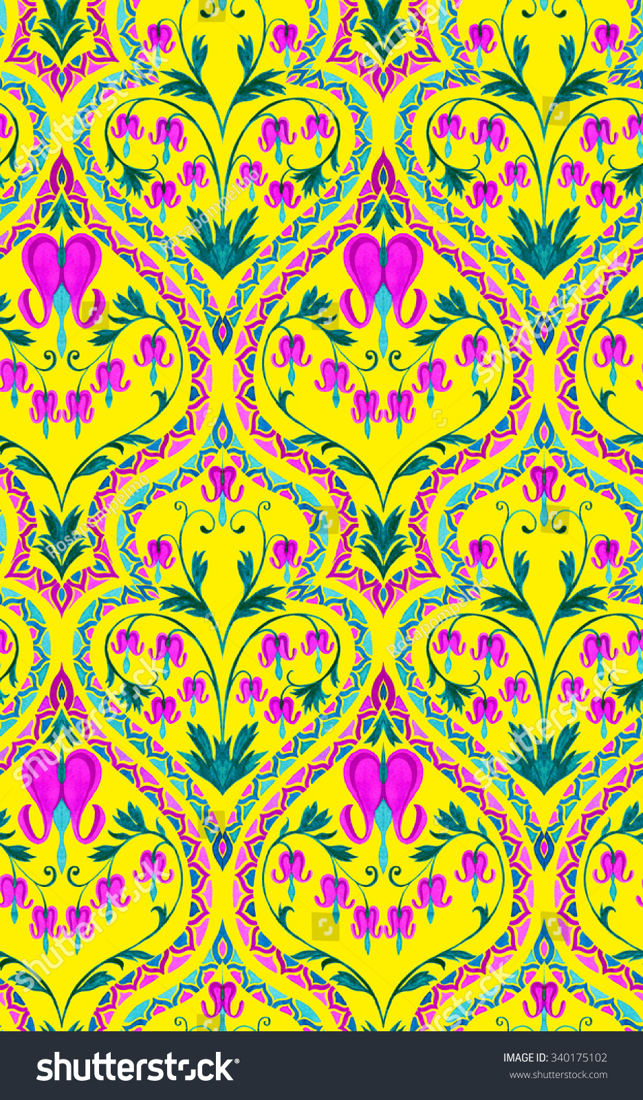 Seamless Art Nouveau Wallpaper Pattern Ornaments Stock Illustration ...