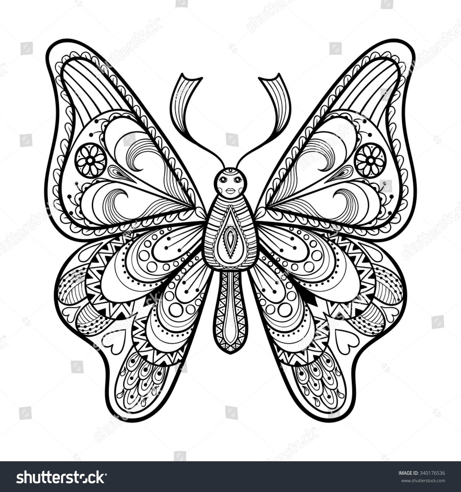 zentangle vector black butterfly for adult anti stress coloring pages in doodle style patterned illustration - Advanced Coloring Pages Butterfly