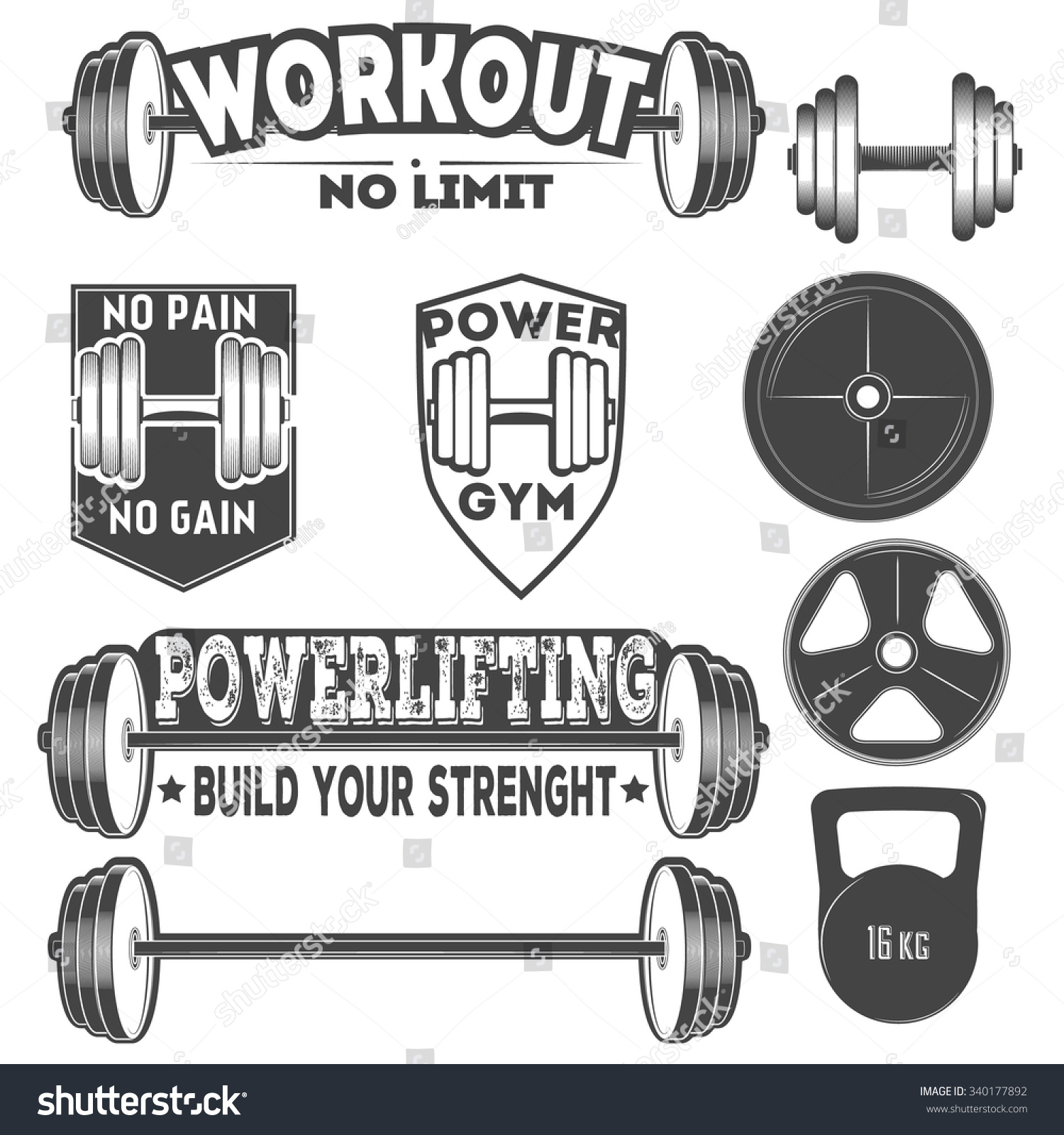 Gym Equipment Logo: Set Monochrome Fitness Emblems Fitness Labelsfitness Stock