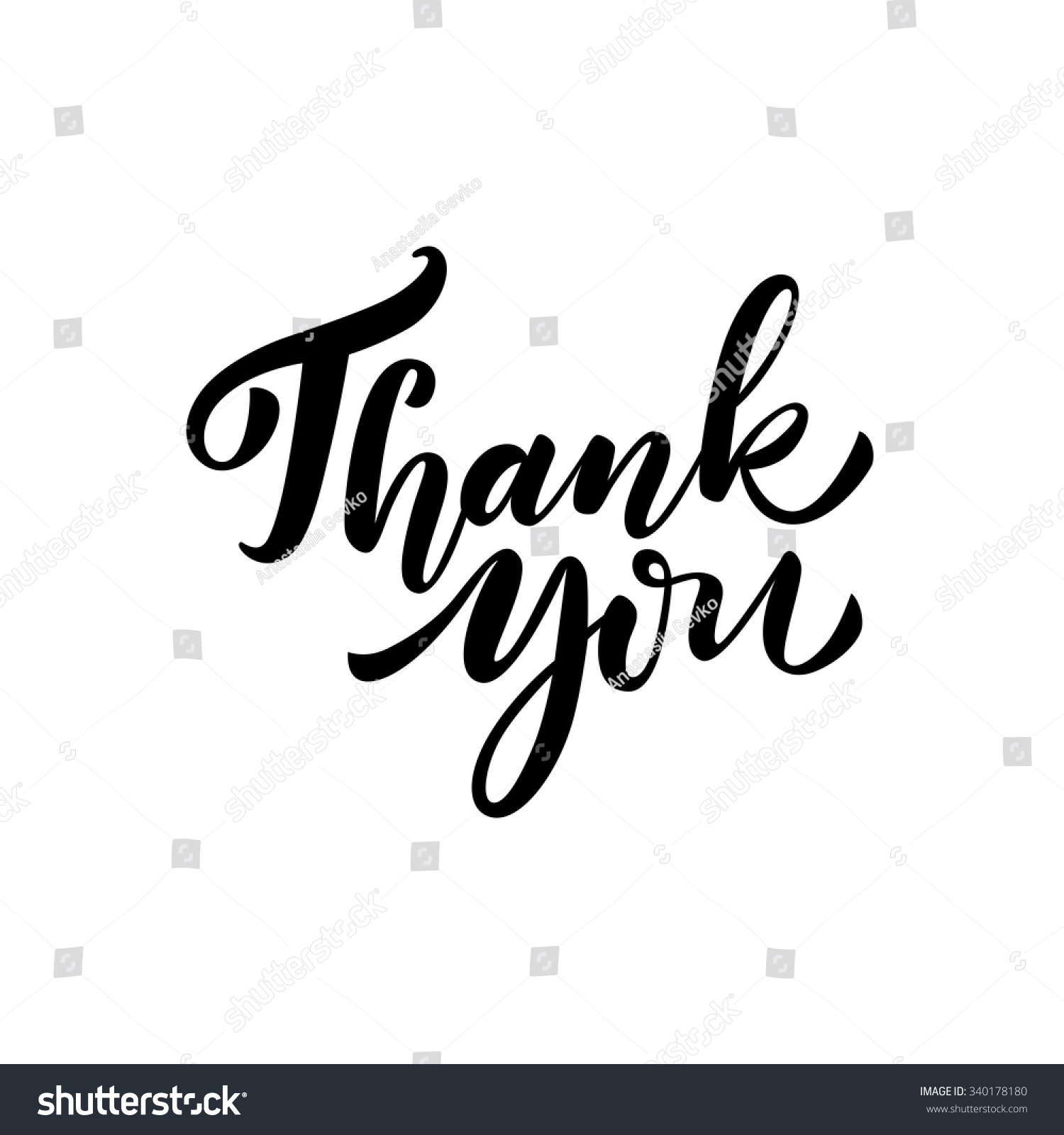 Thank You Card Hand Drawn Lettering Stock Vector Royalty Free