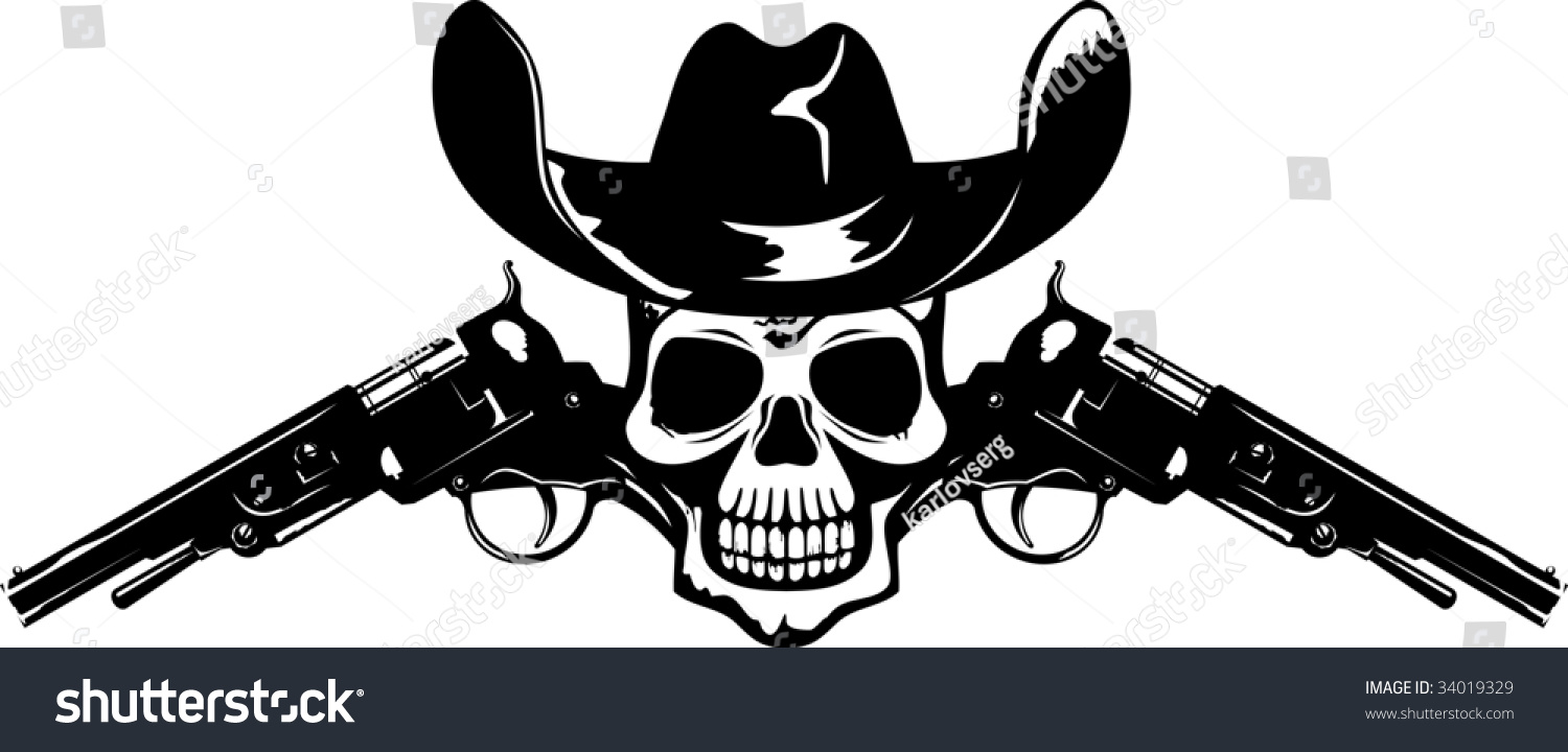 Abstract Symbol Skull Guns Cowboys Hat Stock Vector 34019329 Shutterstock