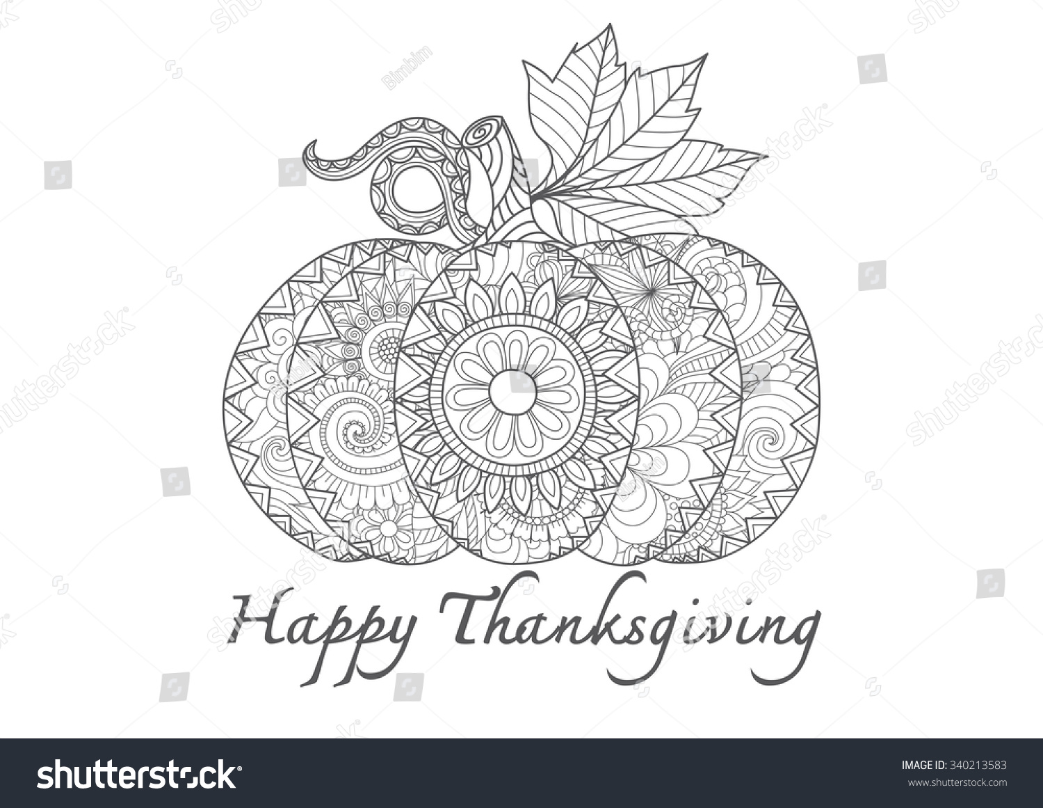 Hand Drawn Sea Thanksgiving Pumpkin Zentangle Style For Coloring Page