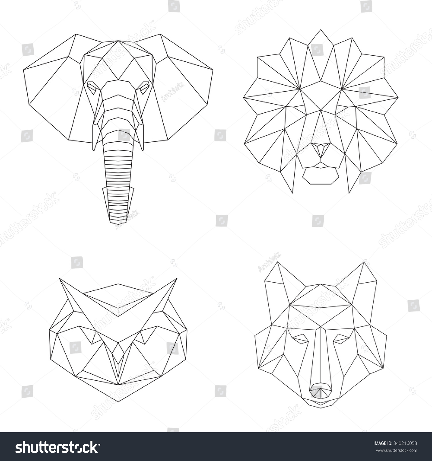 Vector Geometric Low Poly Illustrations Set Stock Vector ...