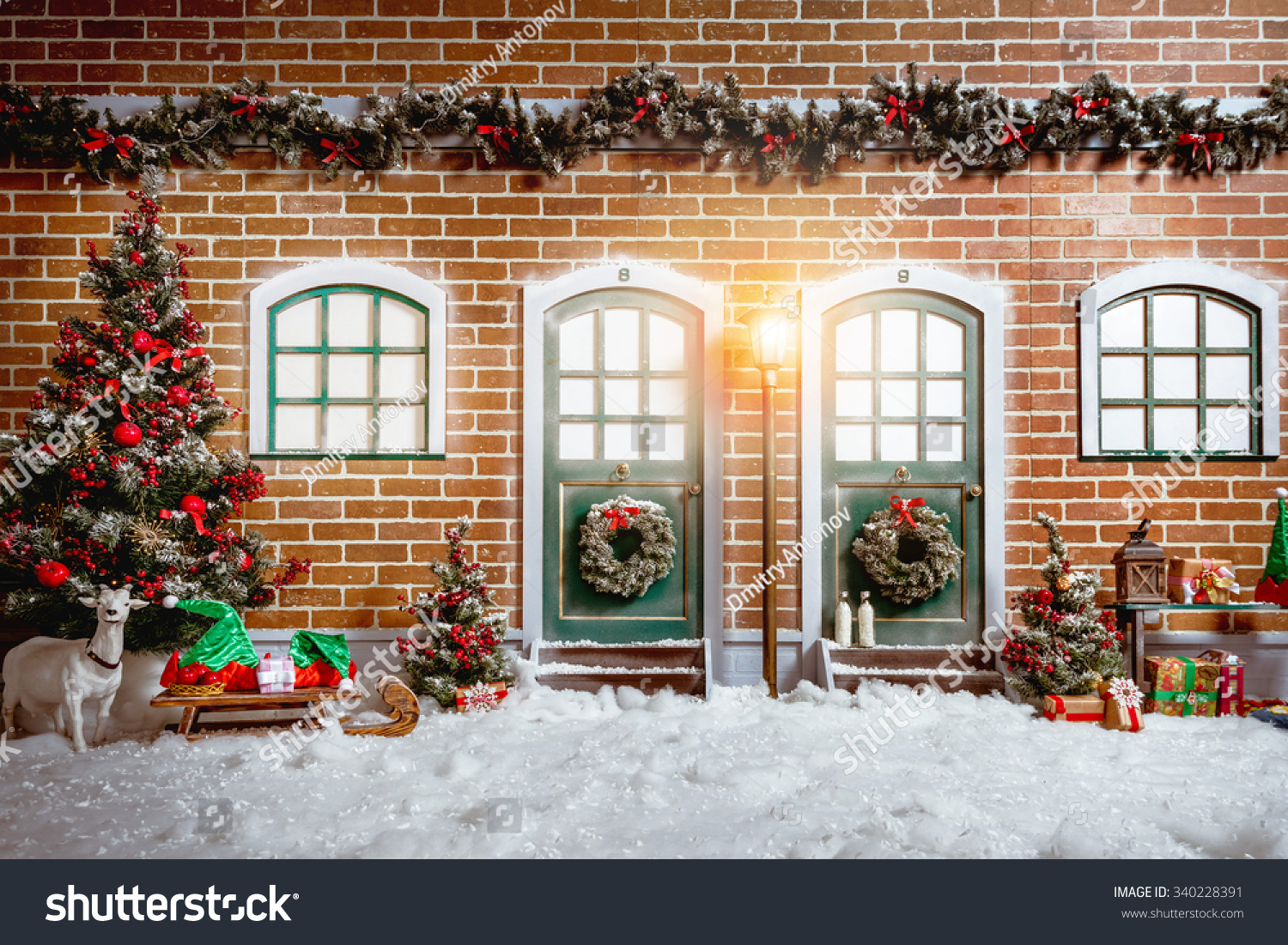 Christmas Studio Interior Decorations Two Wooden Stock Photo 340228391 - Shutterstock
