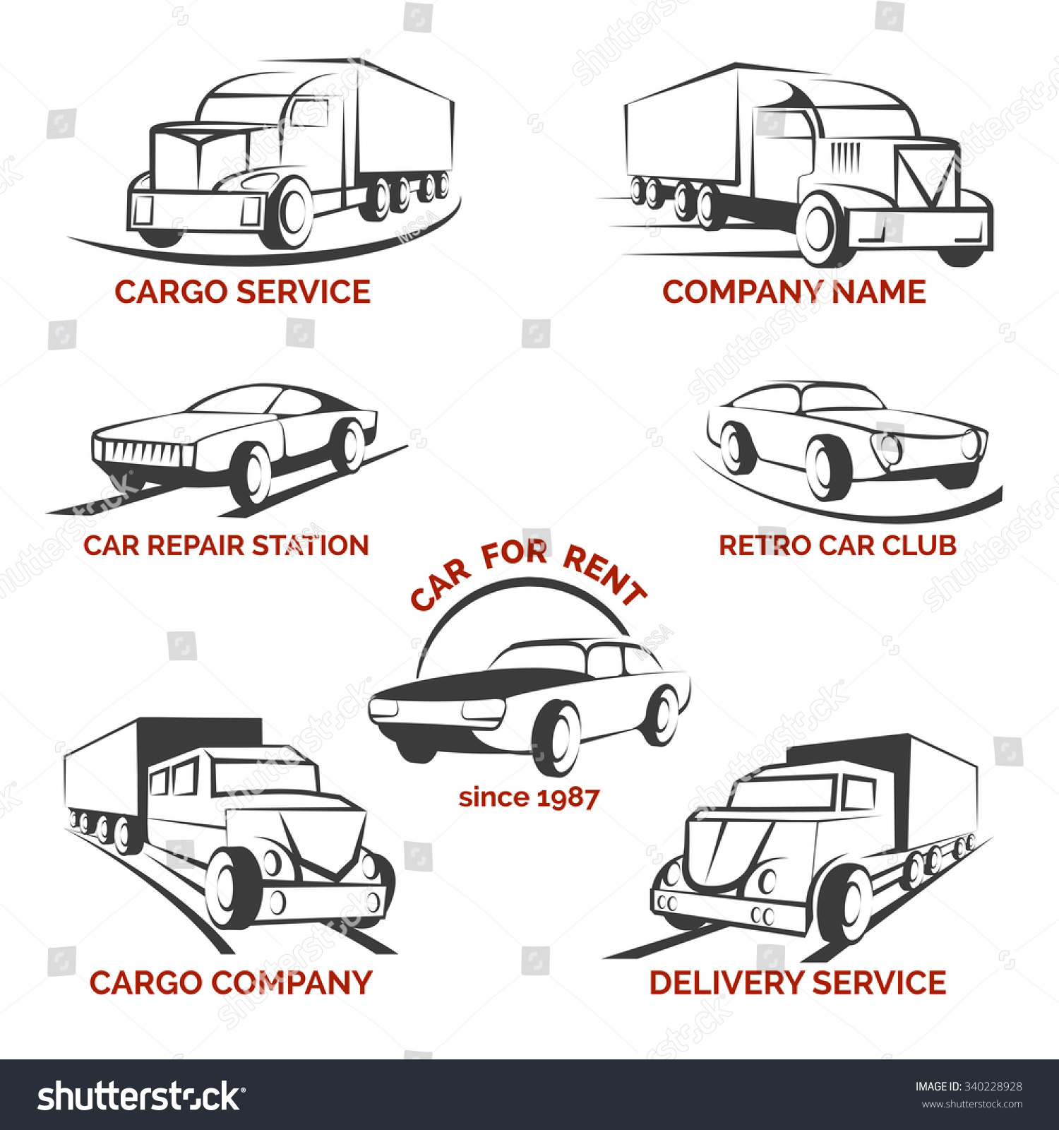 Design car club logo - Car Club Logo Vector Set Delivery And Repair Station Rent Auto Truck And Cargo