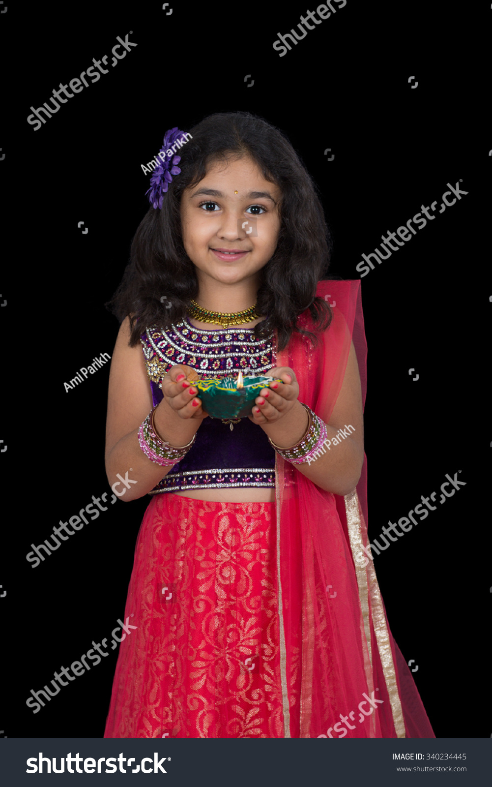Portrait Little Girl Holding Lamp Isolated Stock Photo 340234445 ... for Girl Holding Lamp  45jwn