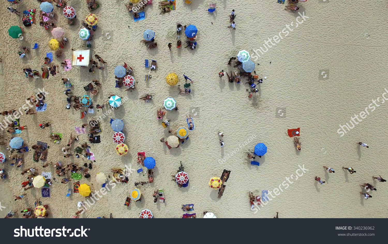 Aerial View Of Crowd People Copacabana Beach Rio De Janeiro Brazil