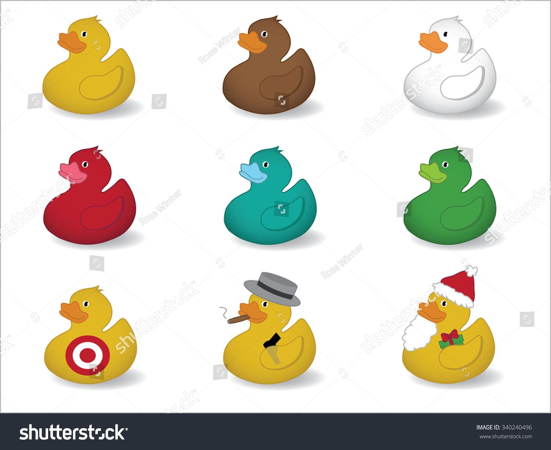 rubber ducks yellow duck brown duck stock vector 340240496