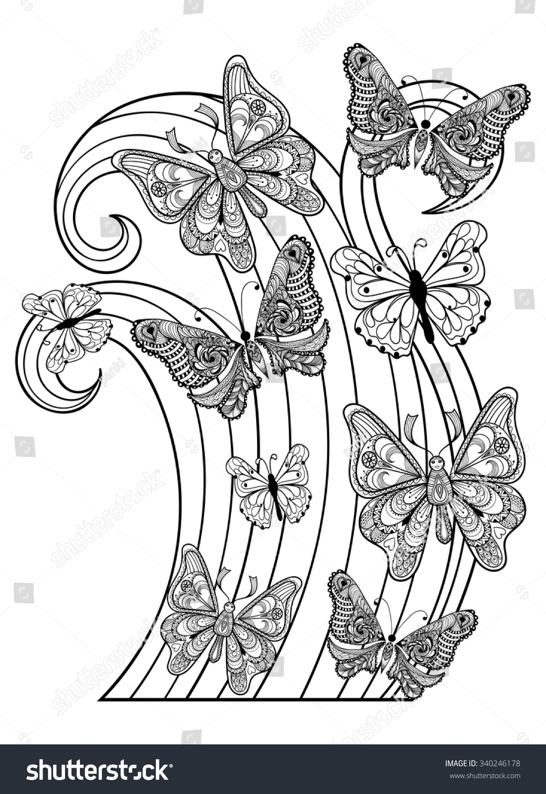 Coloring pages for adults butterflies - Coloring Pages Of Butterflies For Adults Zentangle Vector Flying Butterflies For Adult Anti Stress Coloring