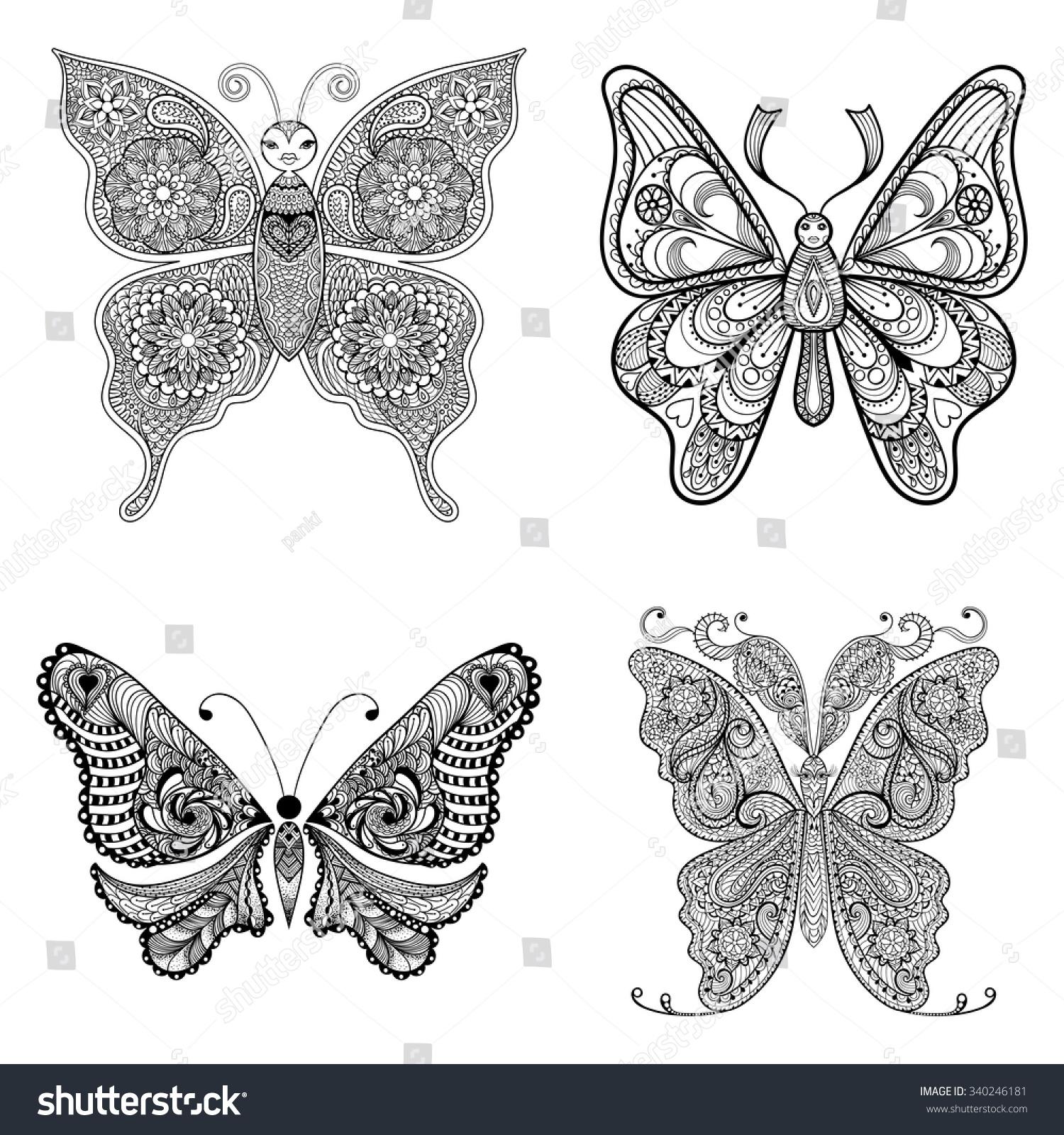 zentangle vector black butterflies set stock vector