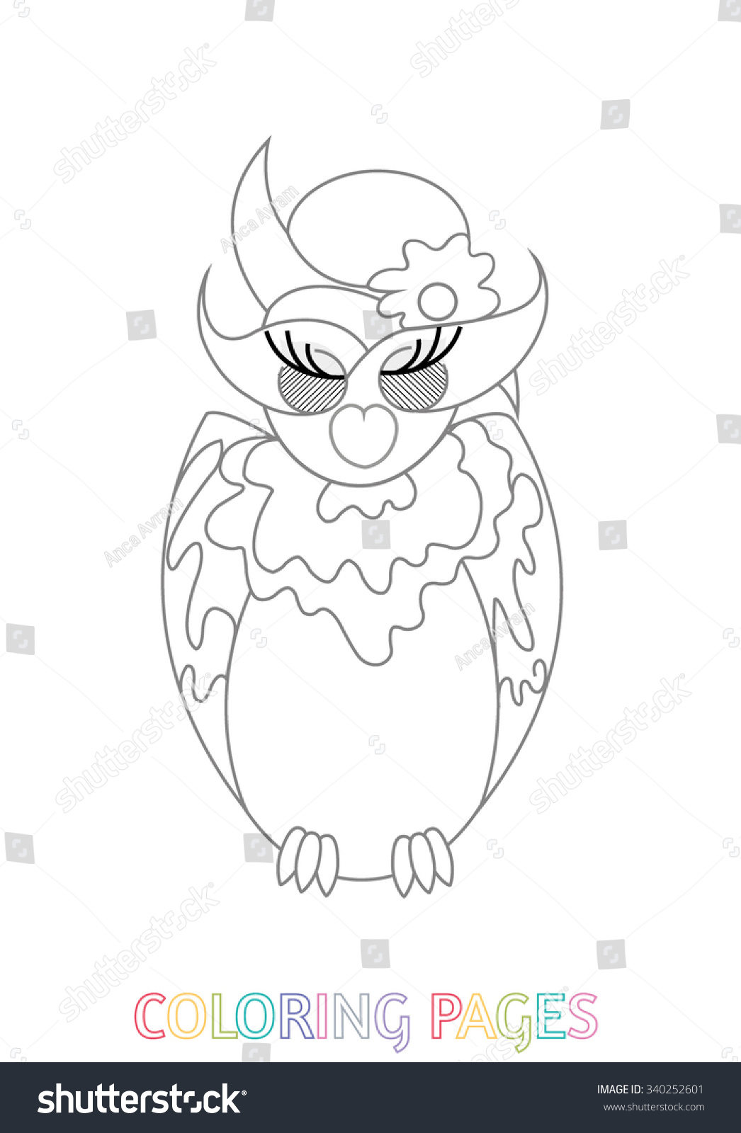 Adult Kids Coloring Pages Owls Stock Vector 340252601 - Shutterstock