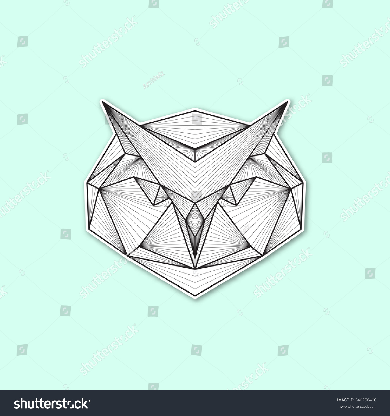 Vector Geometric Illustration Owl Head Stock Vector ... - photo#49
