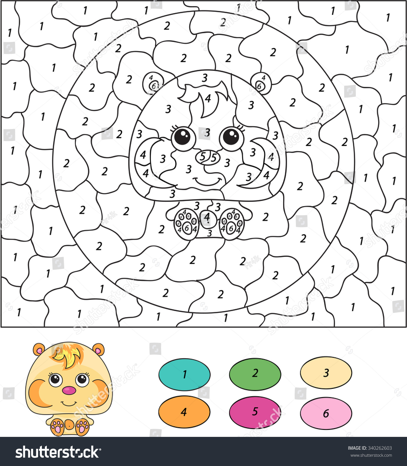color by number educational game kids stock illustration 340262603