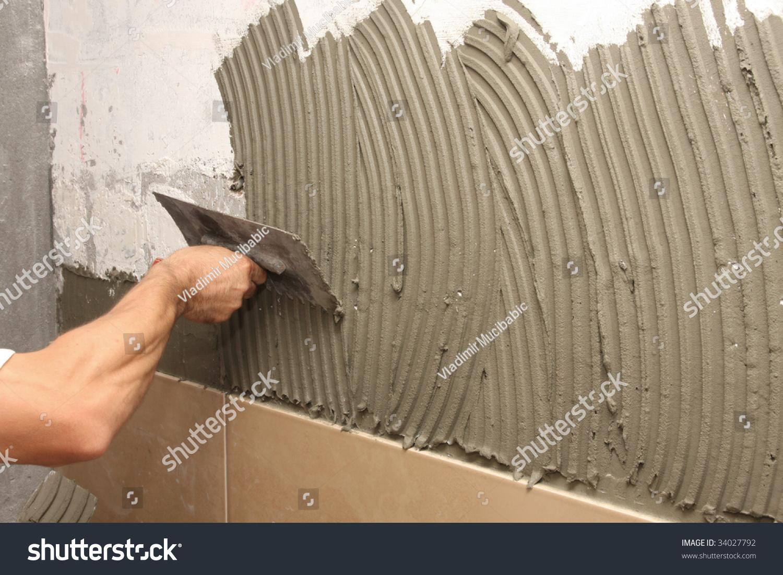 Details Trowel Spreading Mortar Ceramic Tile Stock Photo Edit Now