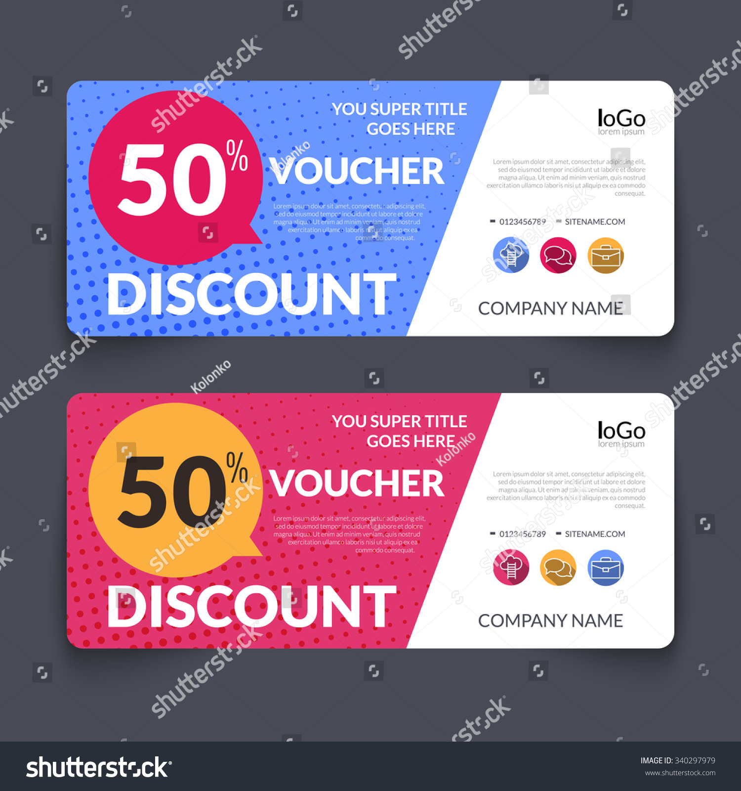 discount voucher market design template colorful stock vector discount voucher market design template colorful halftone pattern gift voucher certificate coupon template layout