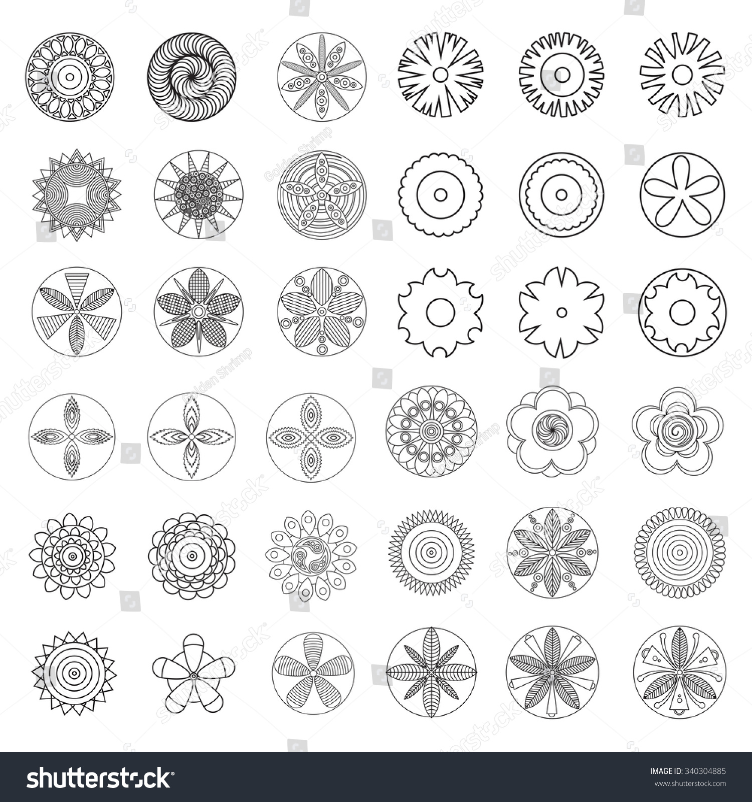 Flowers Design Element Coloring Page Book Stock Vector (Royalty Free ...
