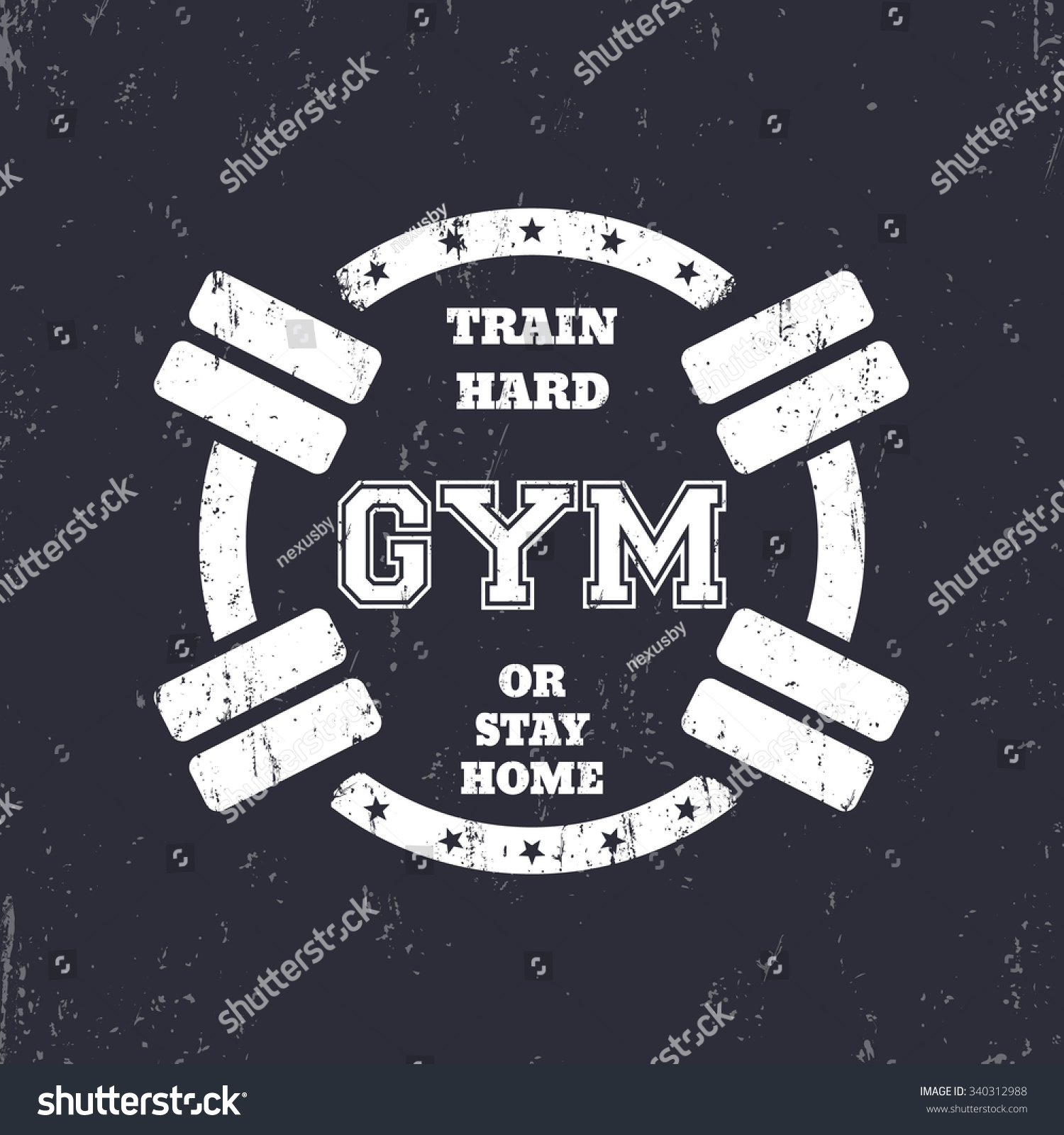 e8abc7eb3 Round grunge gym t-shirt design, white print with dumbbells, vector  illustration