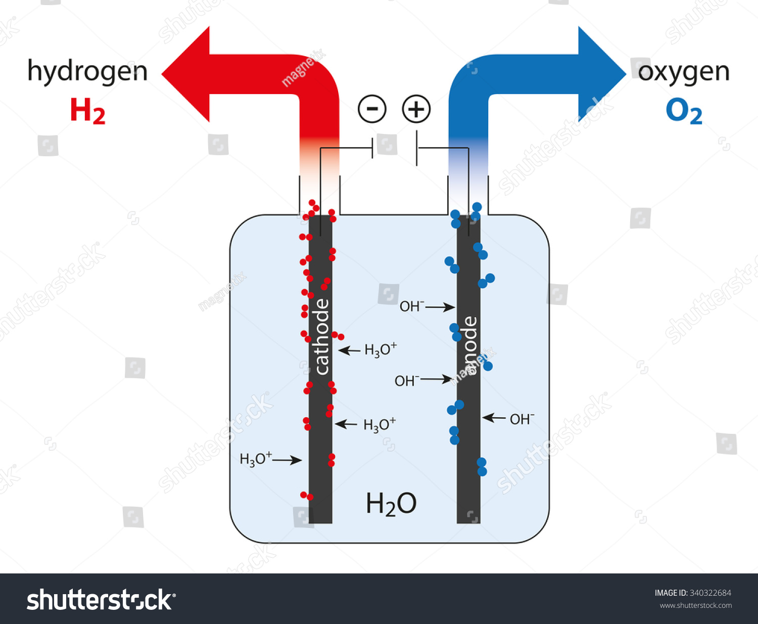 Electrolysis Water Production Hydrogen Oxygen Stock Vector ...