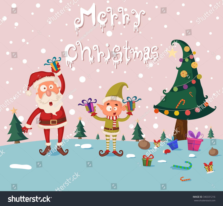 Santa elf merry christmas holiday greeting stock vector 340331216 santa and elf in merry christmas holiday greeting card background in vector kristyandbryce Gallery