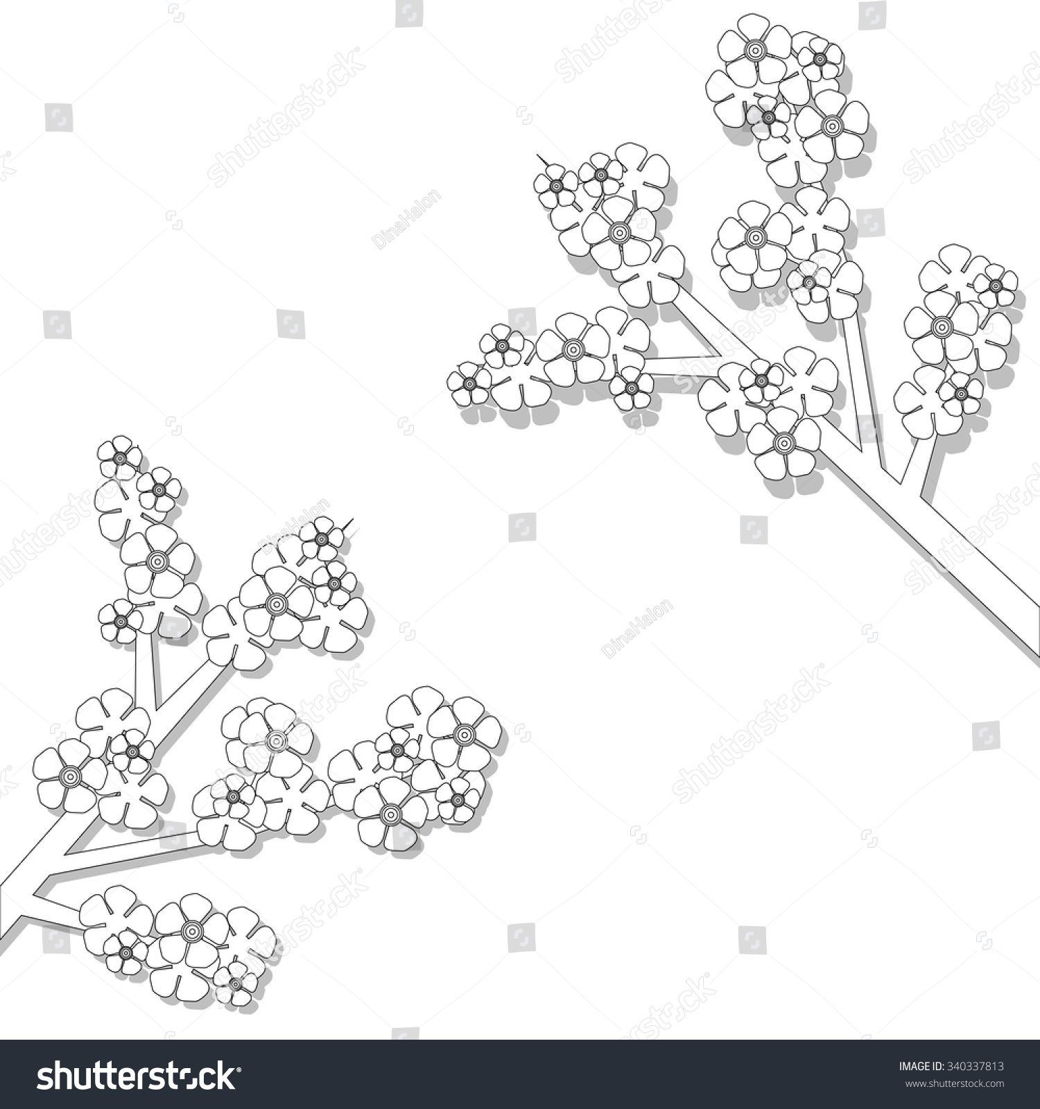 Spring Flowers Coloring Book Stock Vector Royalty Free 340337813